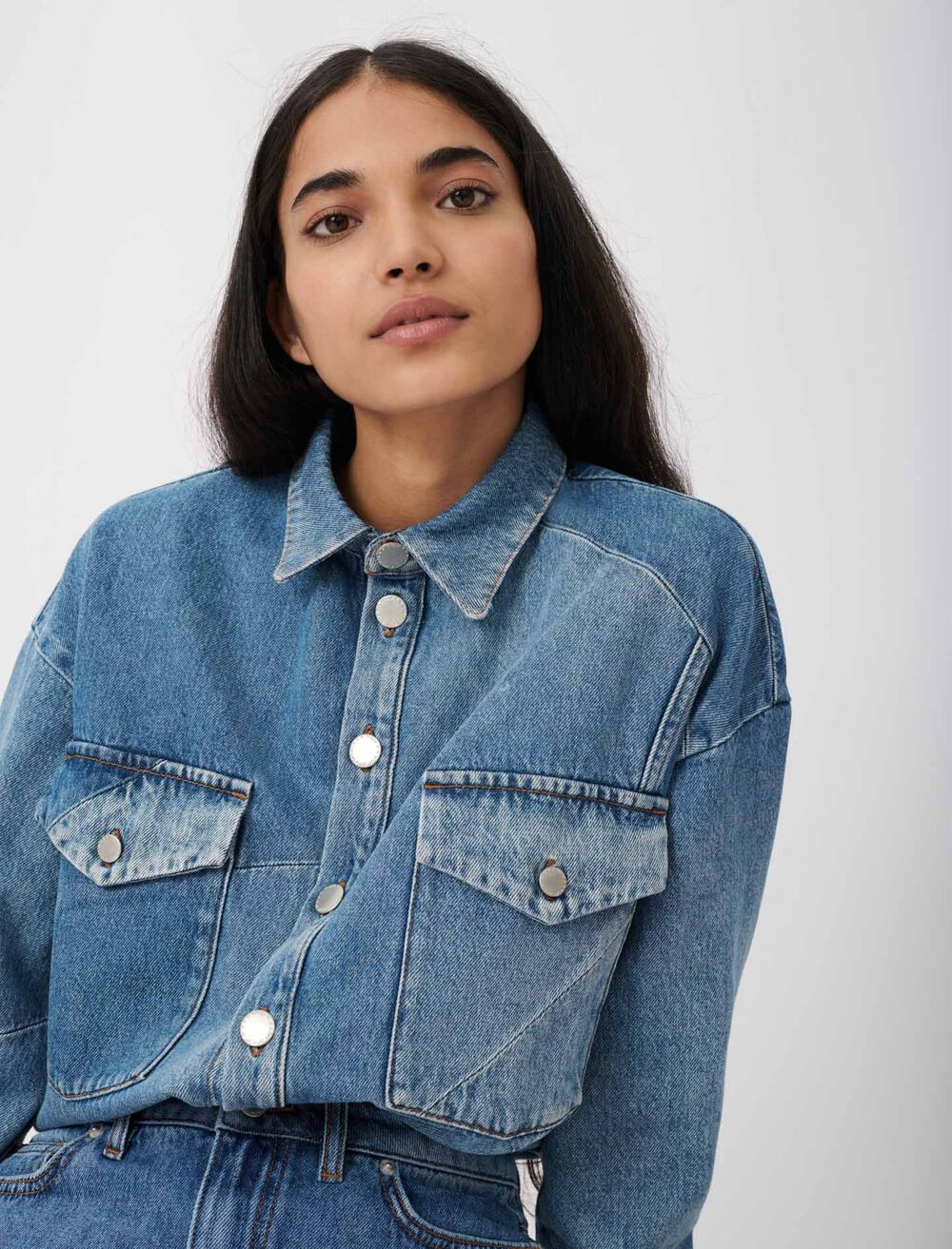 Patched denim overshirt - Blue