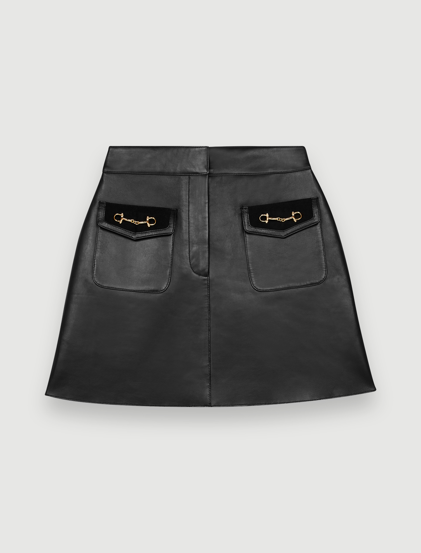 Flared leather skirt and horsebit detail - Black