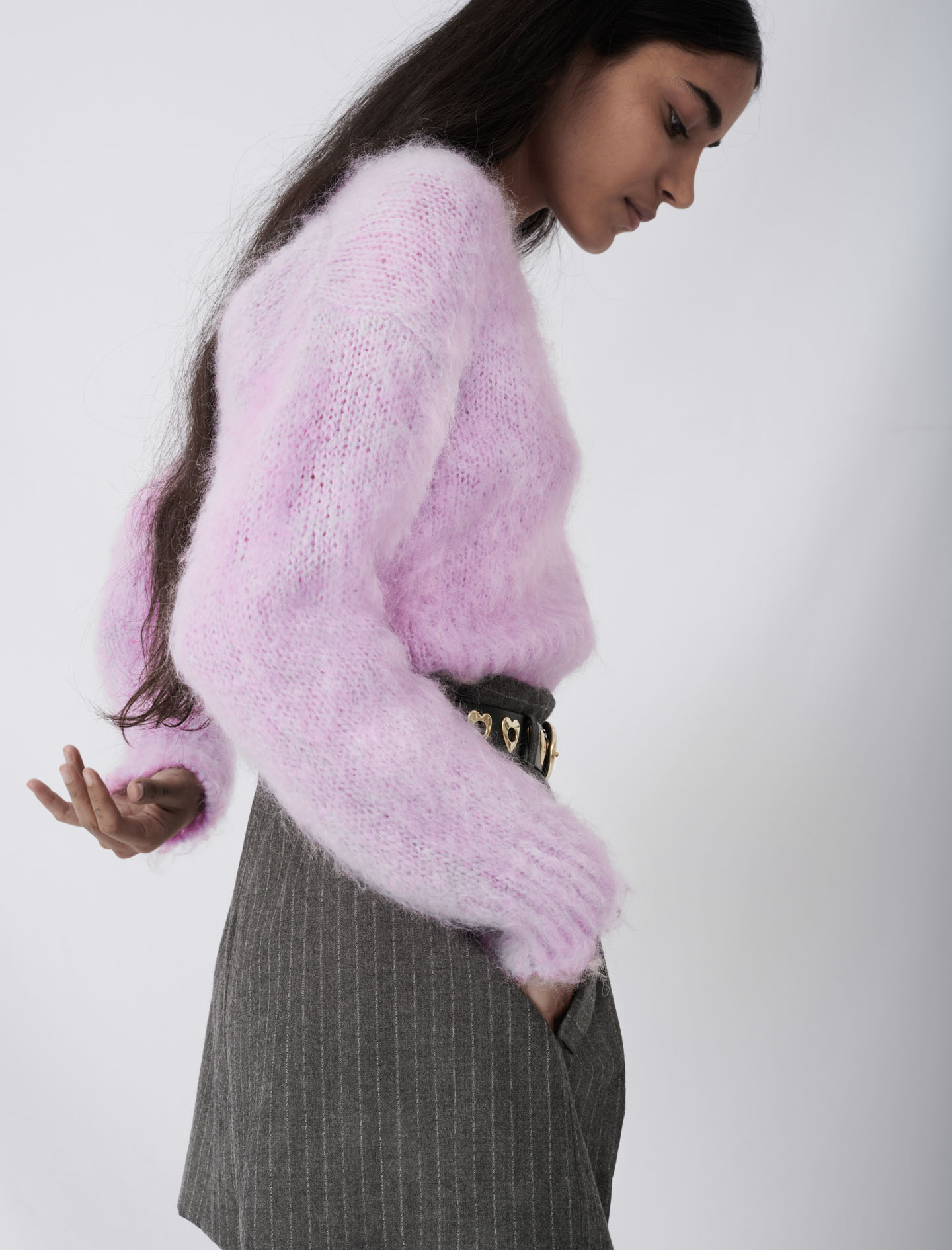Mohair cardigan with fancy buttons - Purple