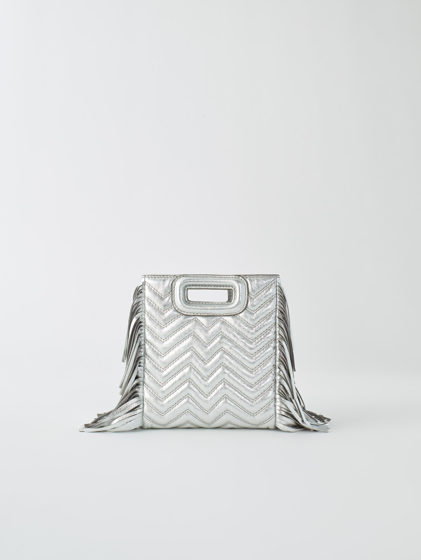 Silver quilted leather M bag - Silver