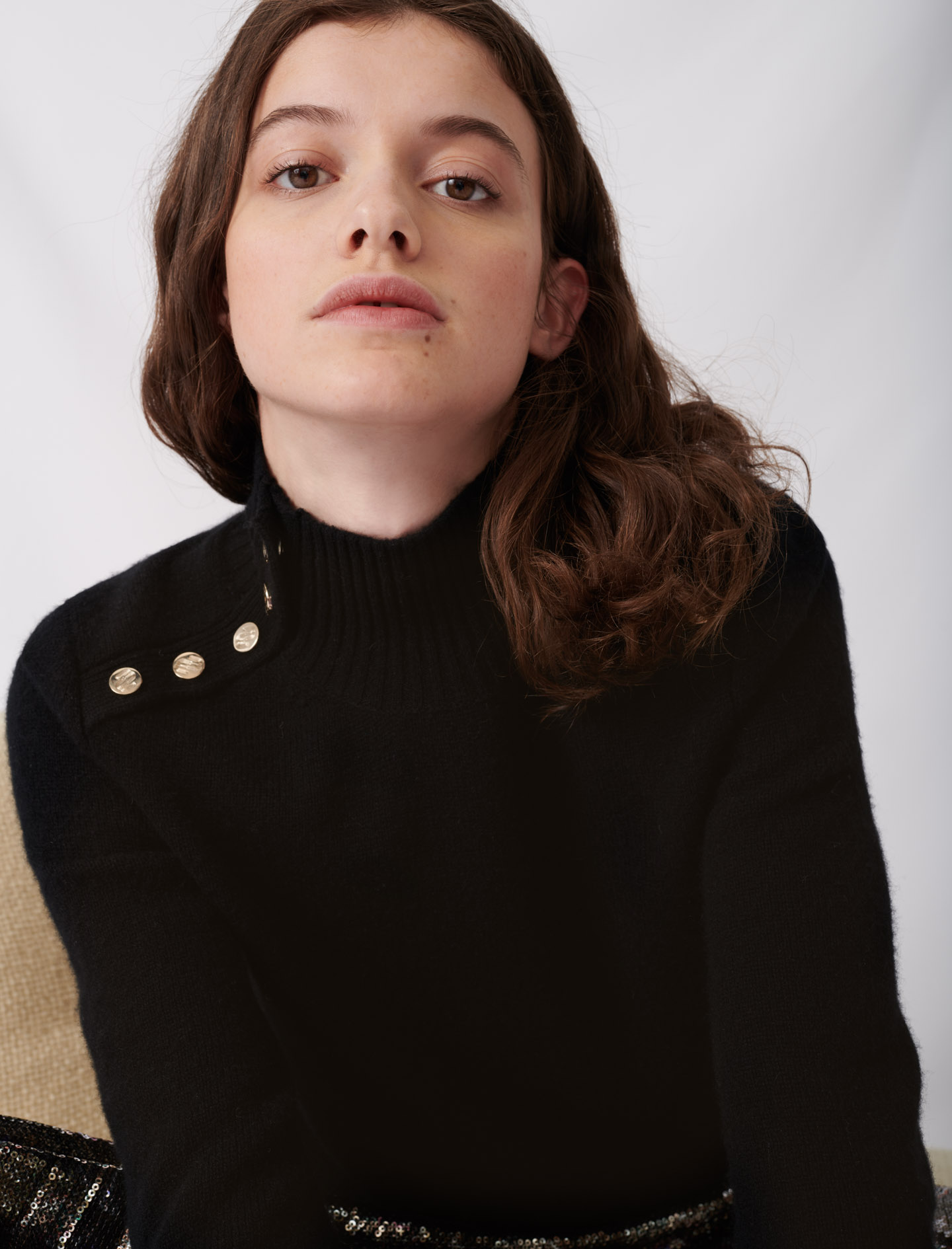 Cashmere sweater with stand-up collar  - Black