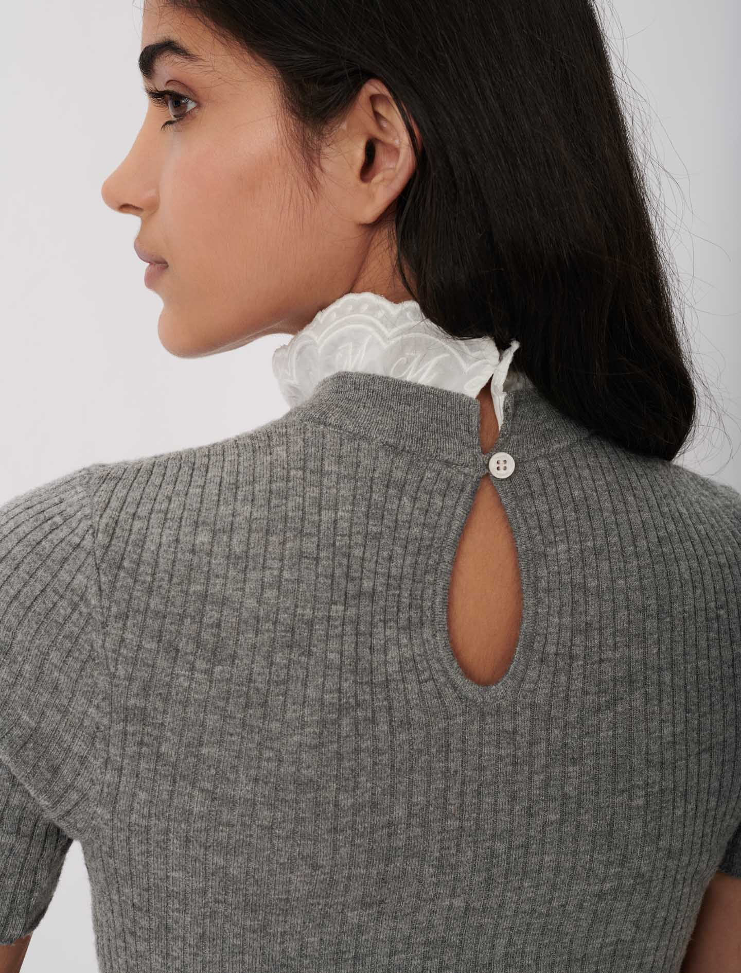 Light sweater, stand-up guipure collar  - Grey