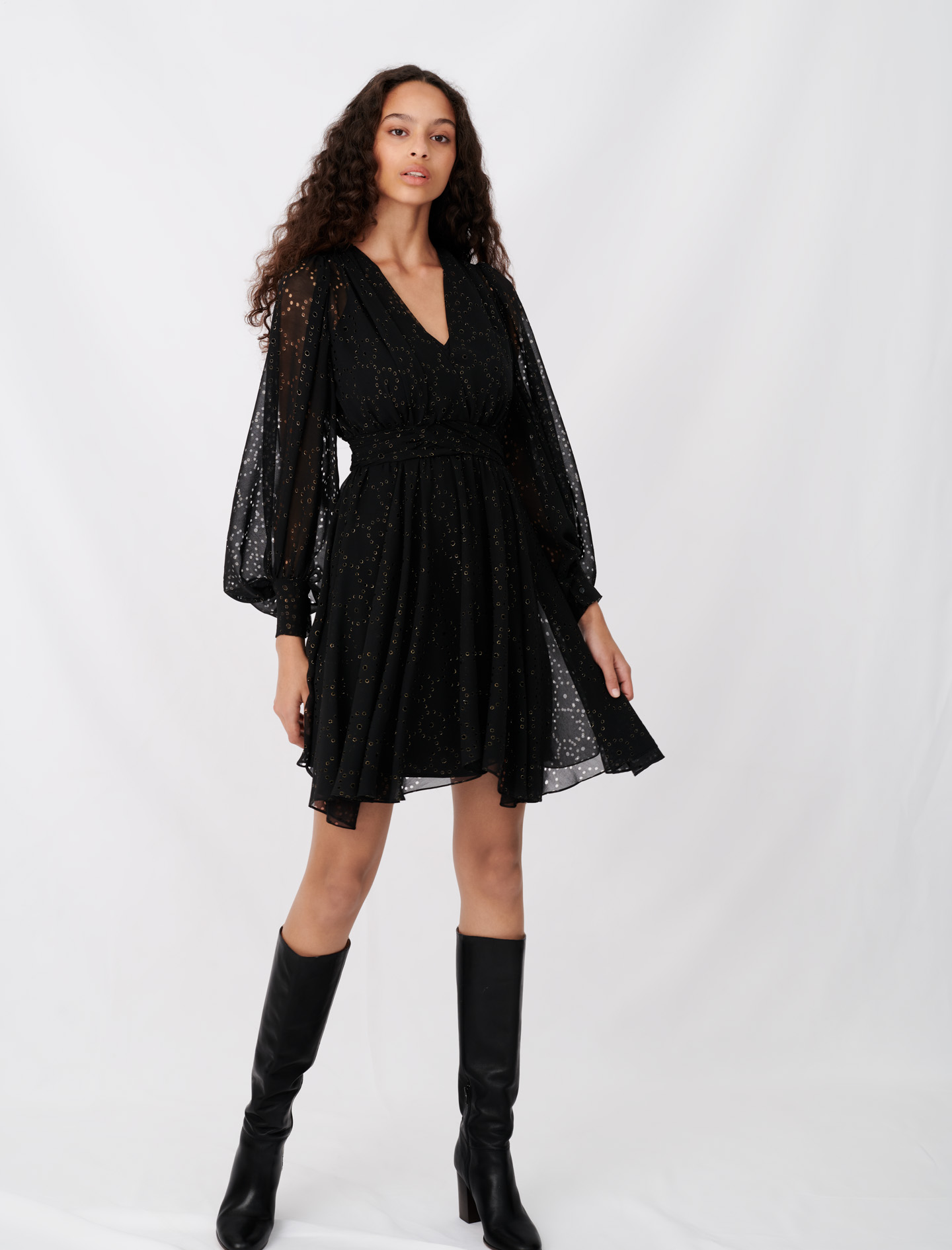 Muslin dress with openwork designs - Black