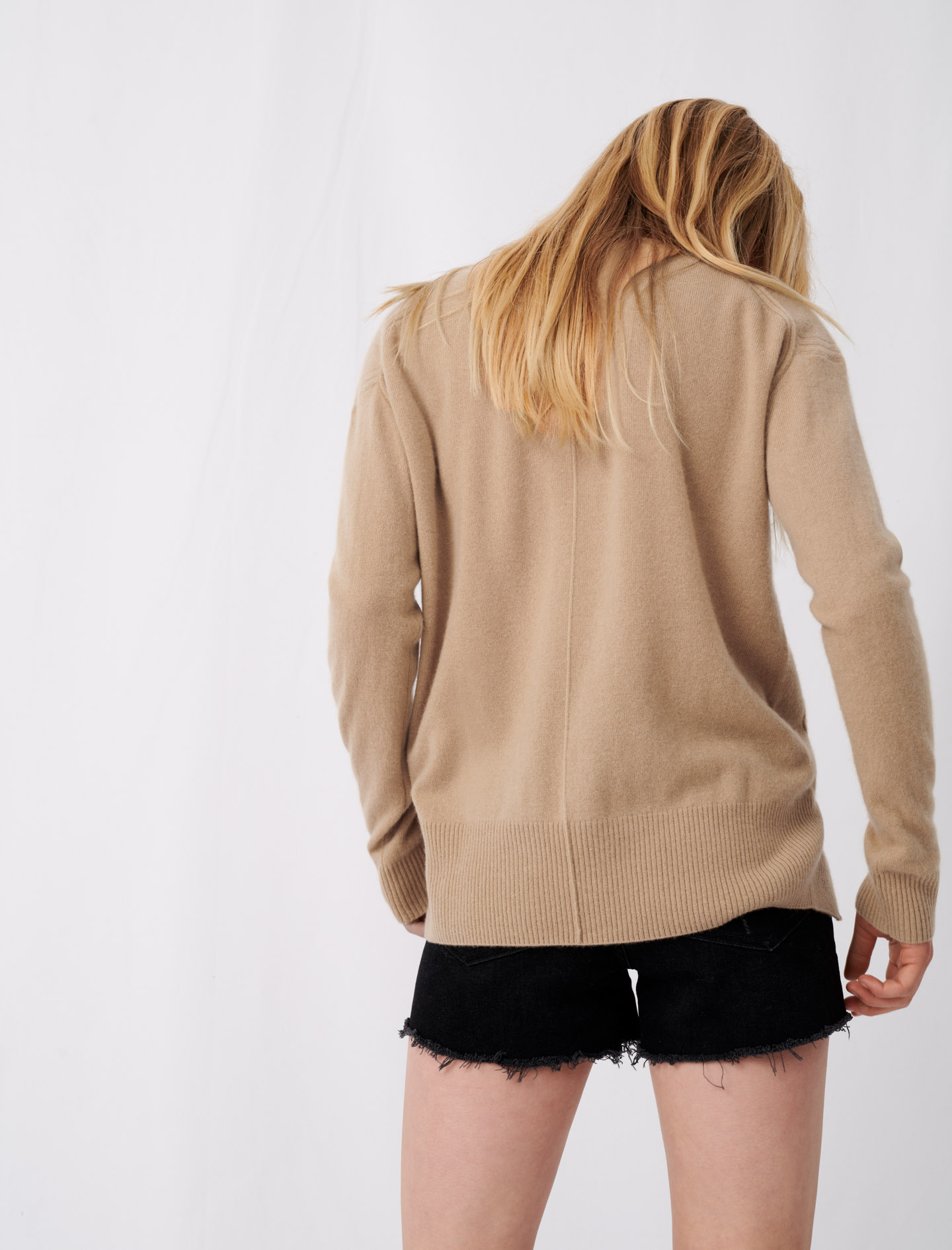 Round neck camel cashmere sweater - Camel