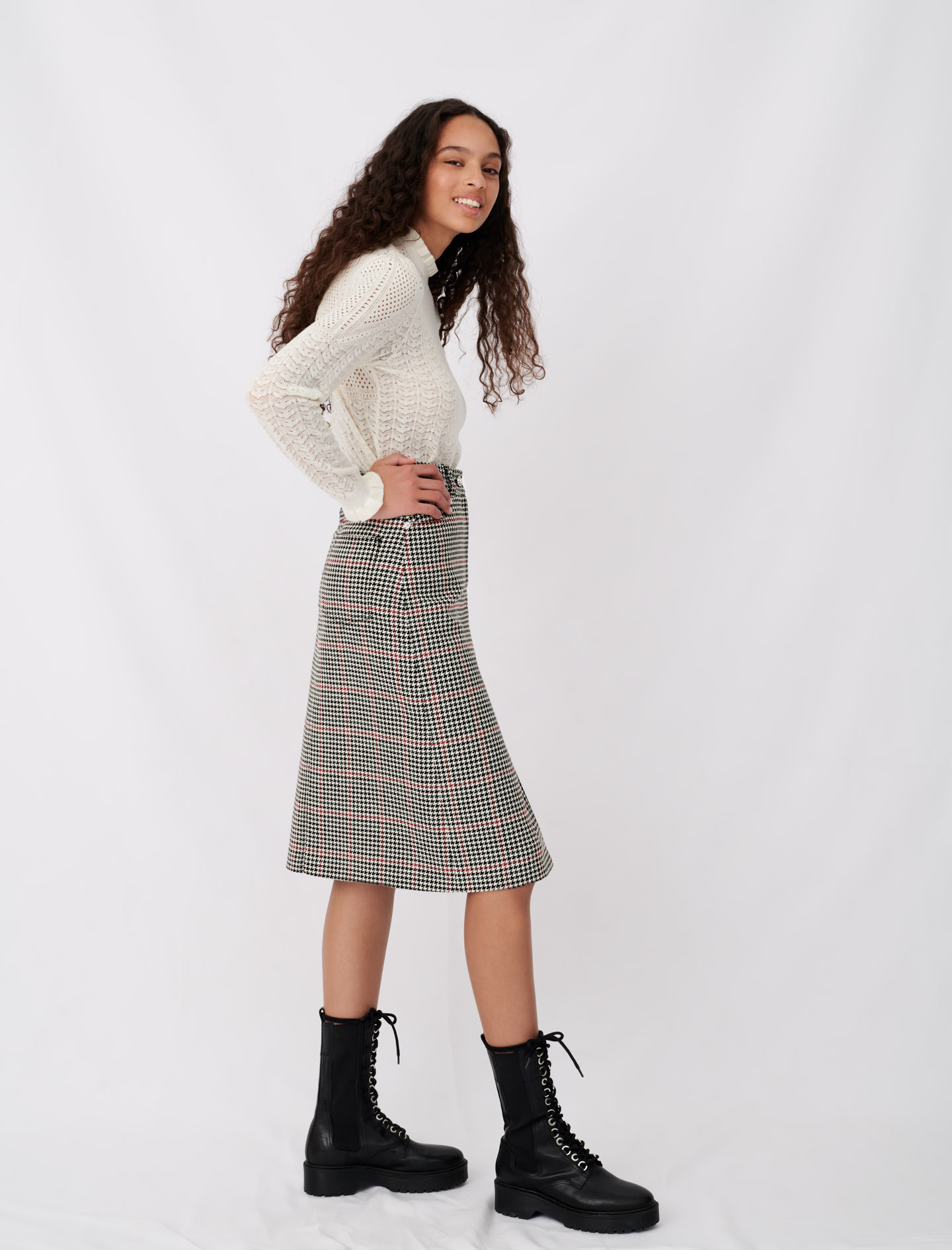 Plaid split midi skirt - Multiclr