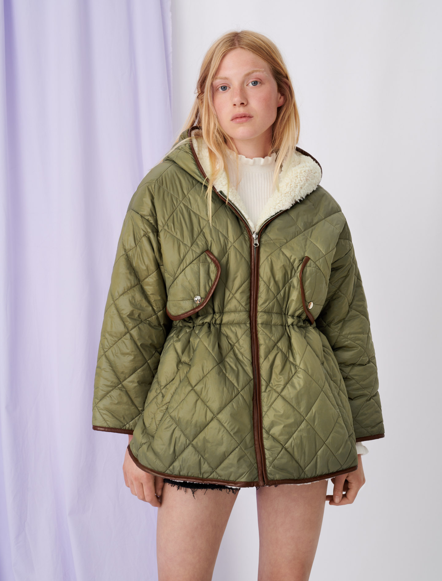 Down jacket with hood and faux fur - Green