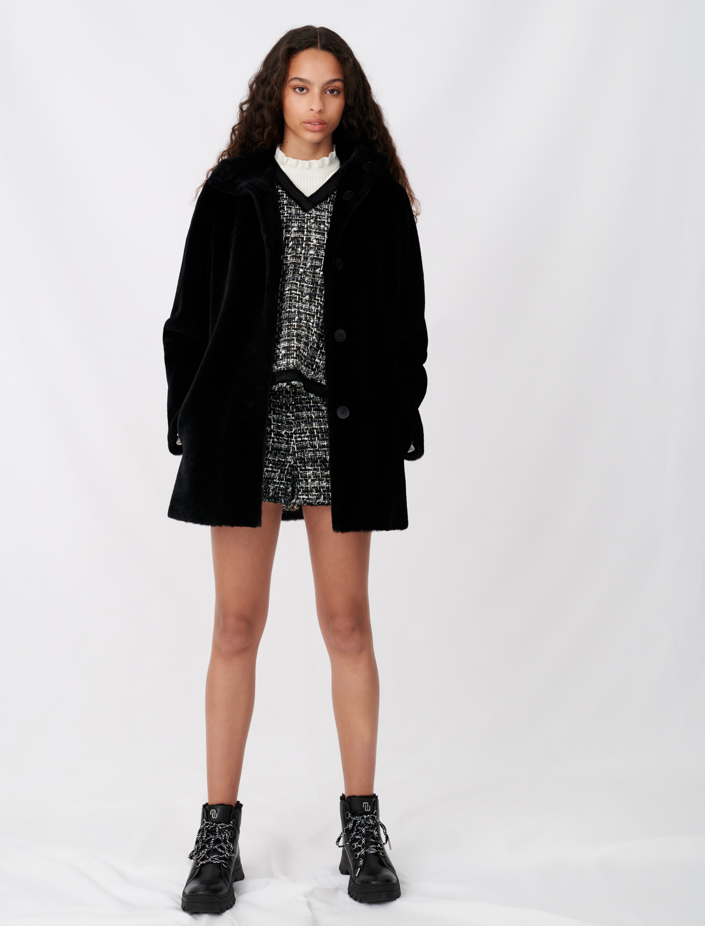 Reversible shearling coat  - Black