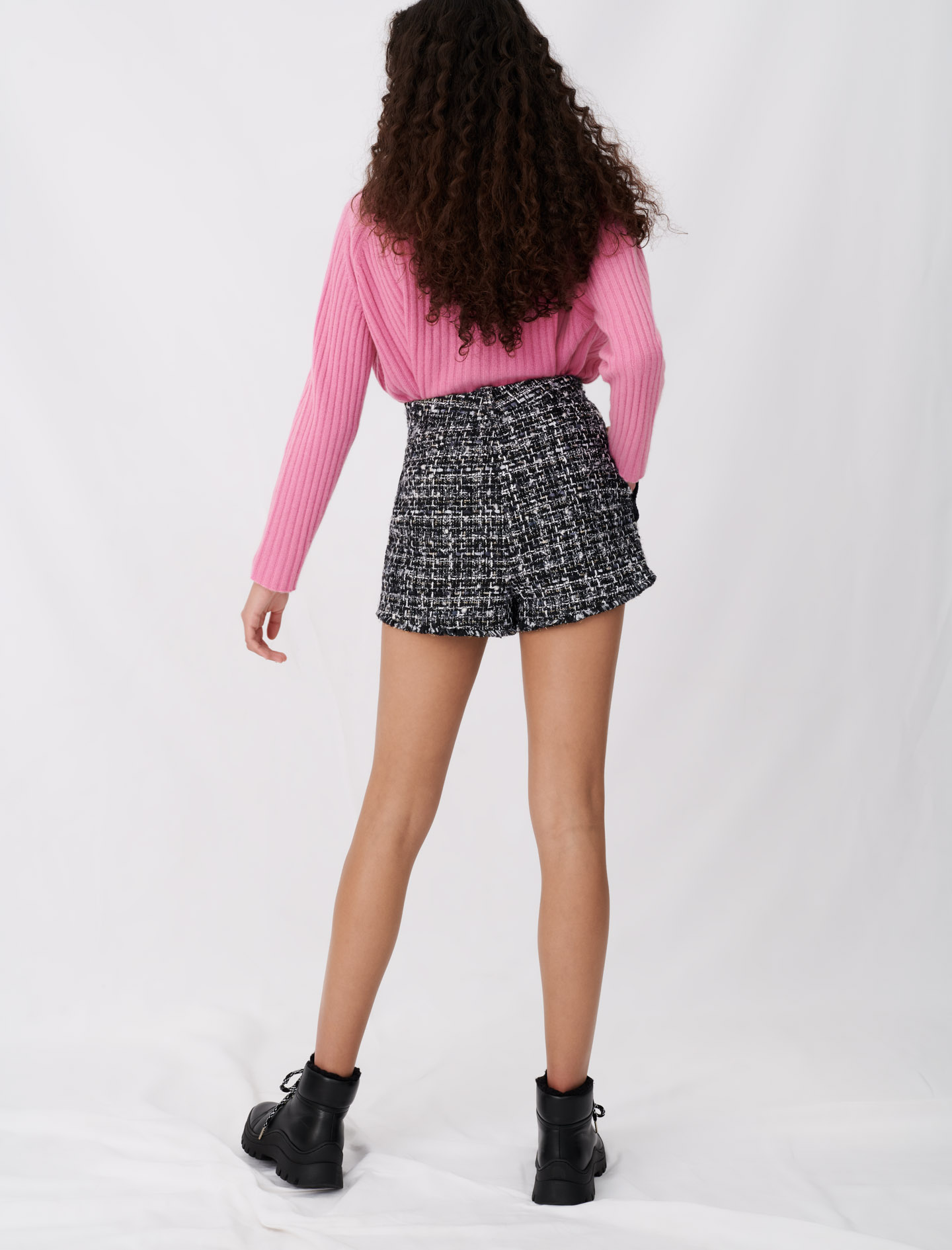 Tweed-style shorts with contrast trims - Multiclr