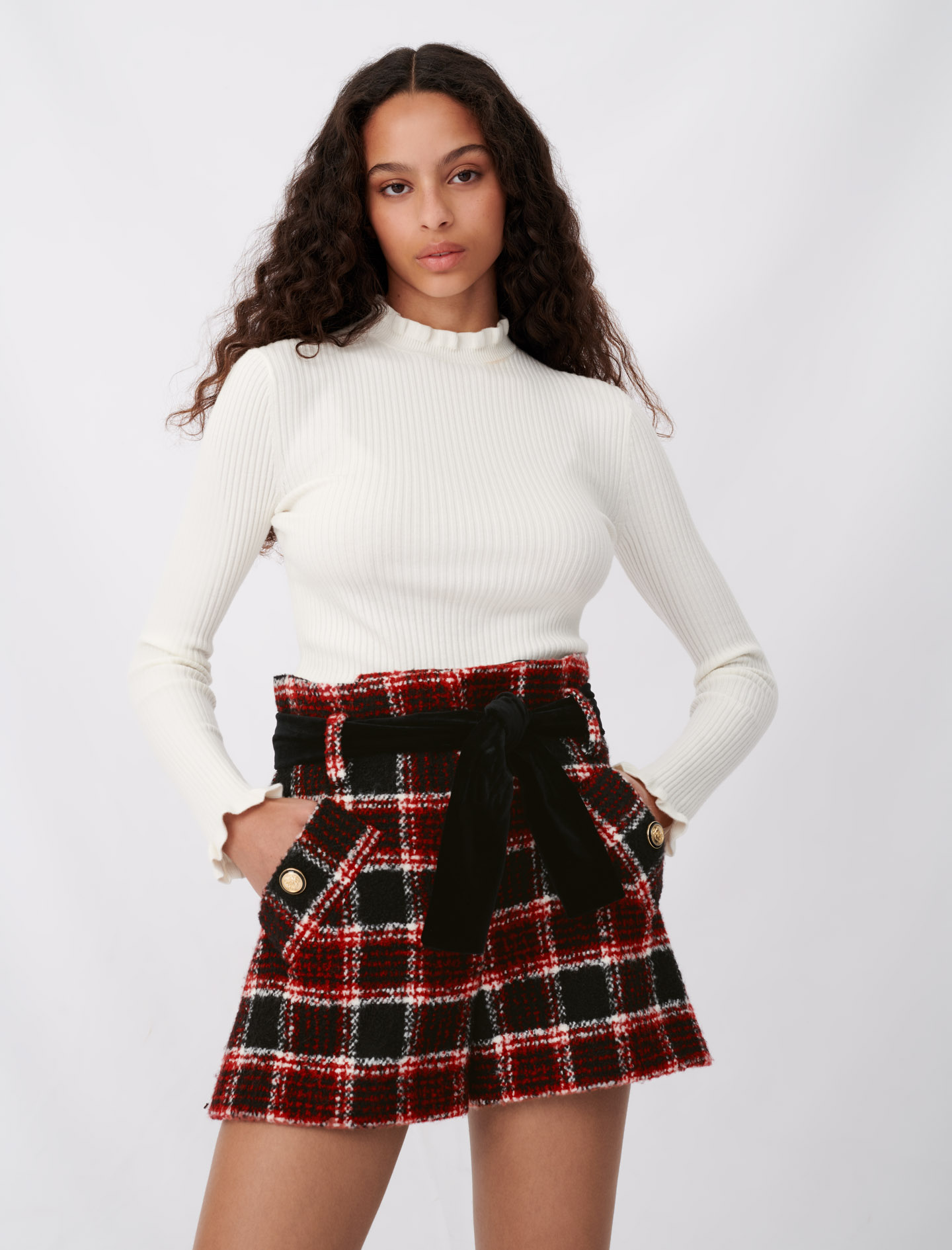 Checked shorts with velvet belt - Multiclr