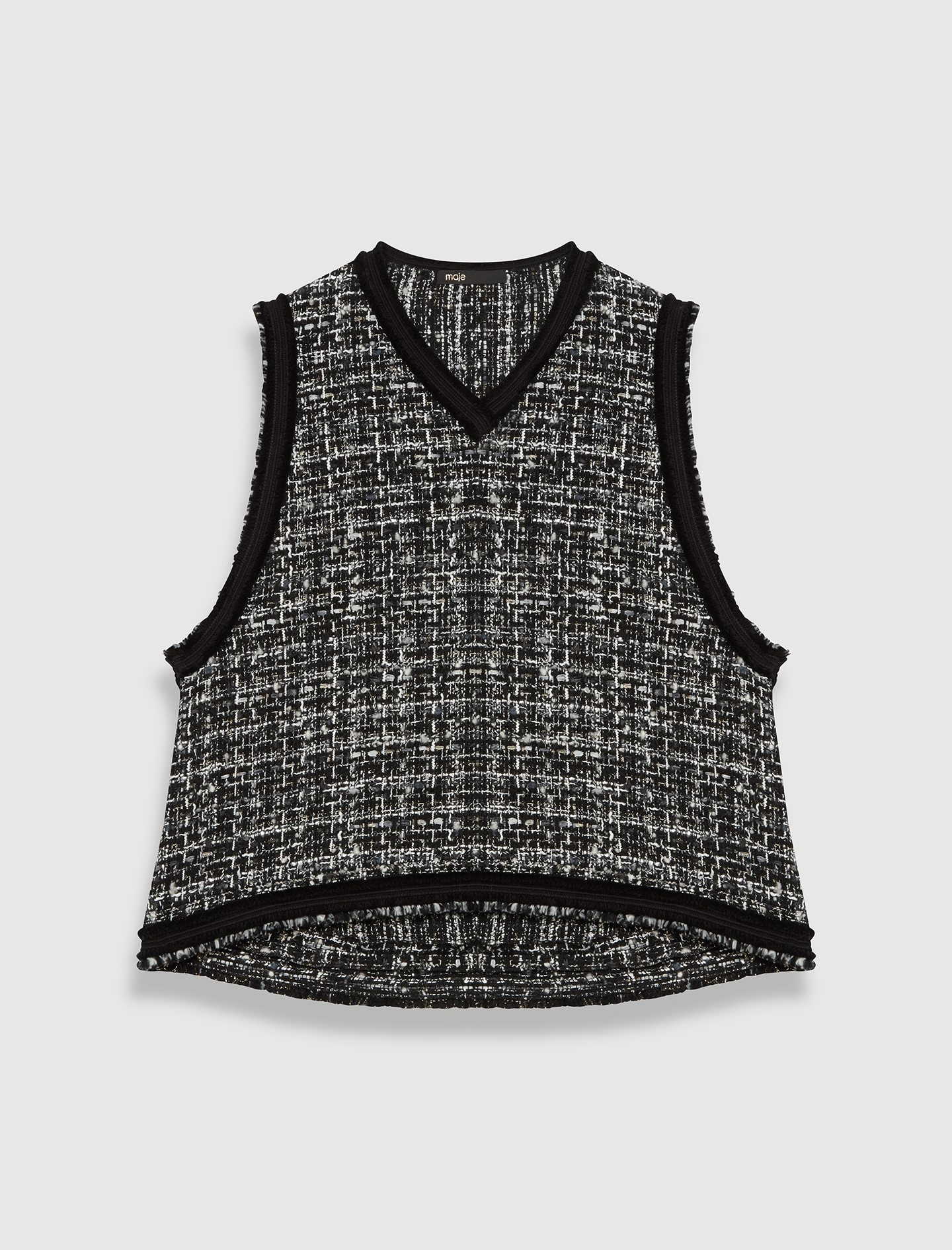 Tweed-style top, contrast fringed trims - Multiclr
