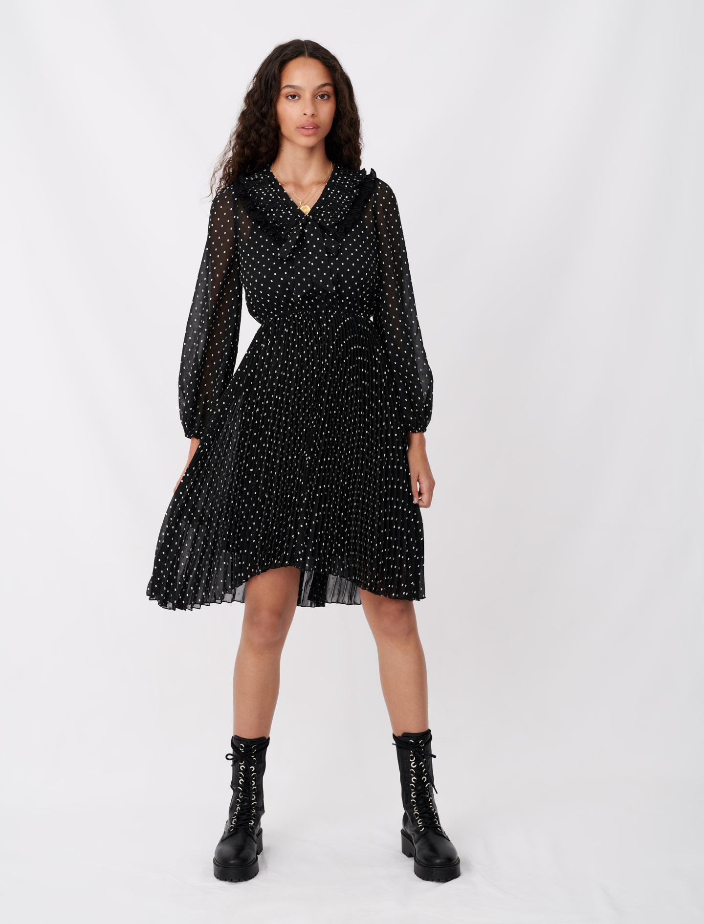 Polka dot effect pleated muslin dress  - Multiclr