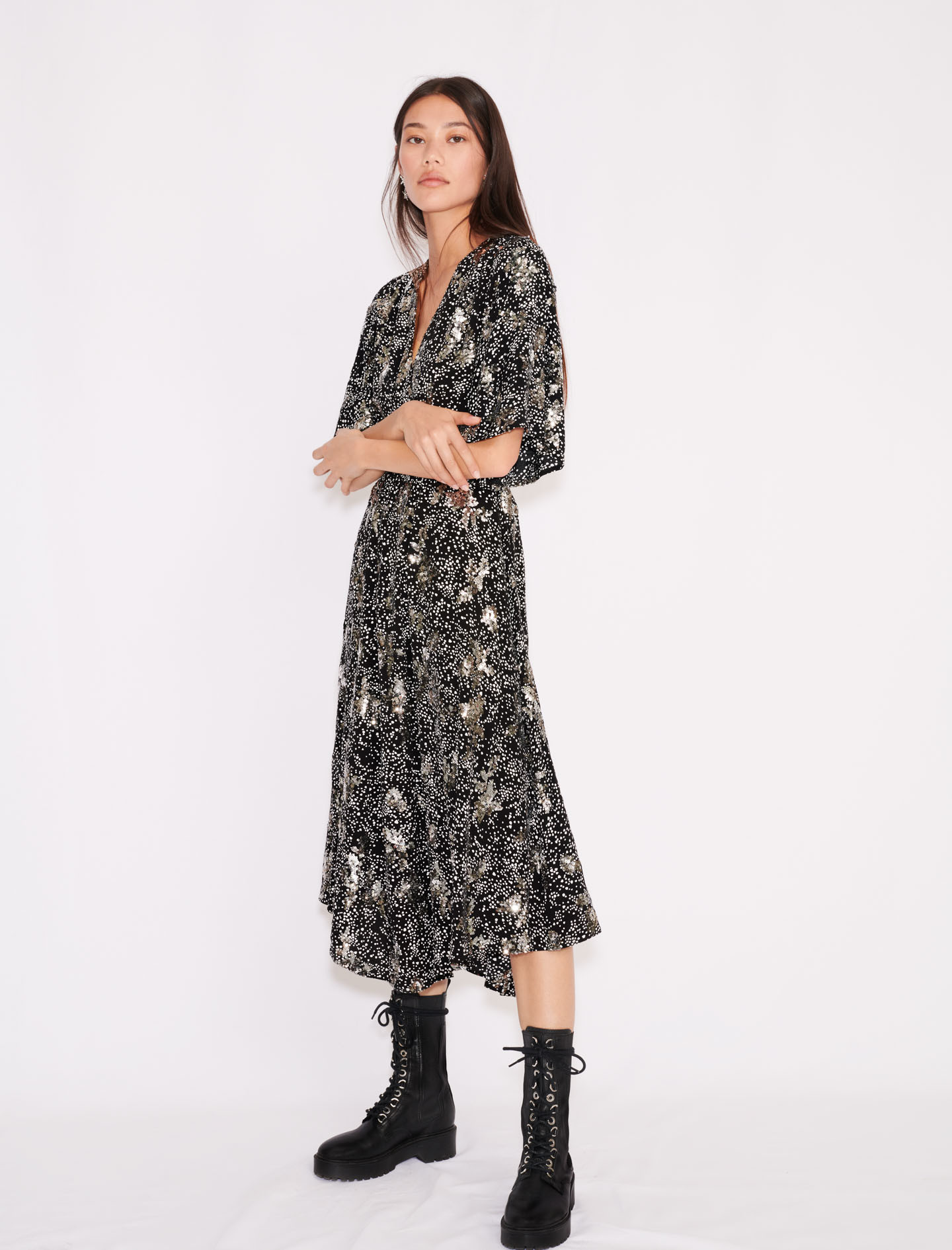 Printed crêpe sequin dress  - Multiclr