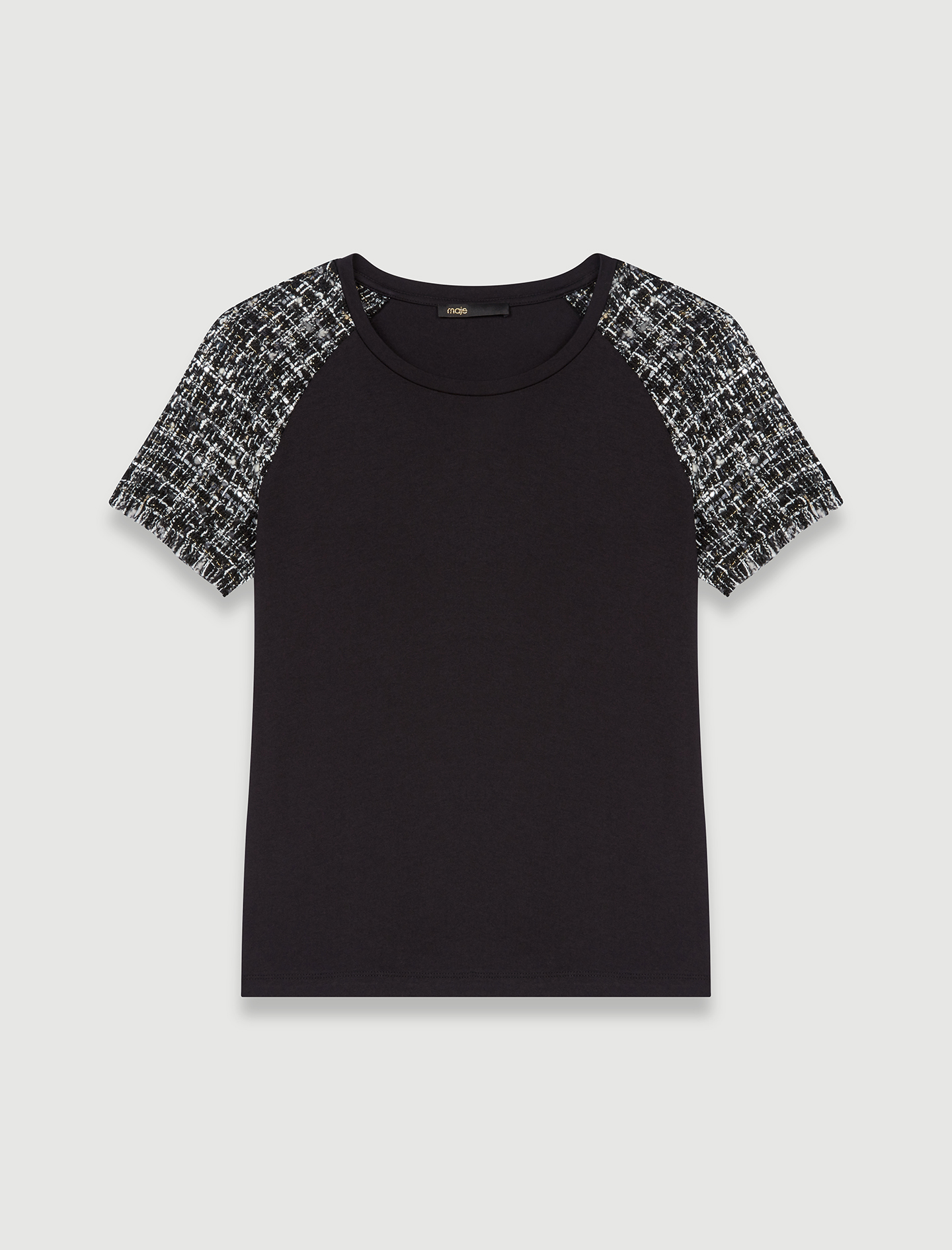 Mixed material T-shirt - Multiclr
