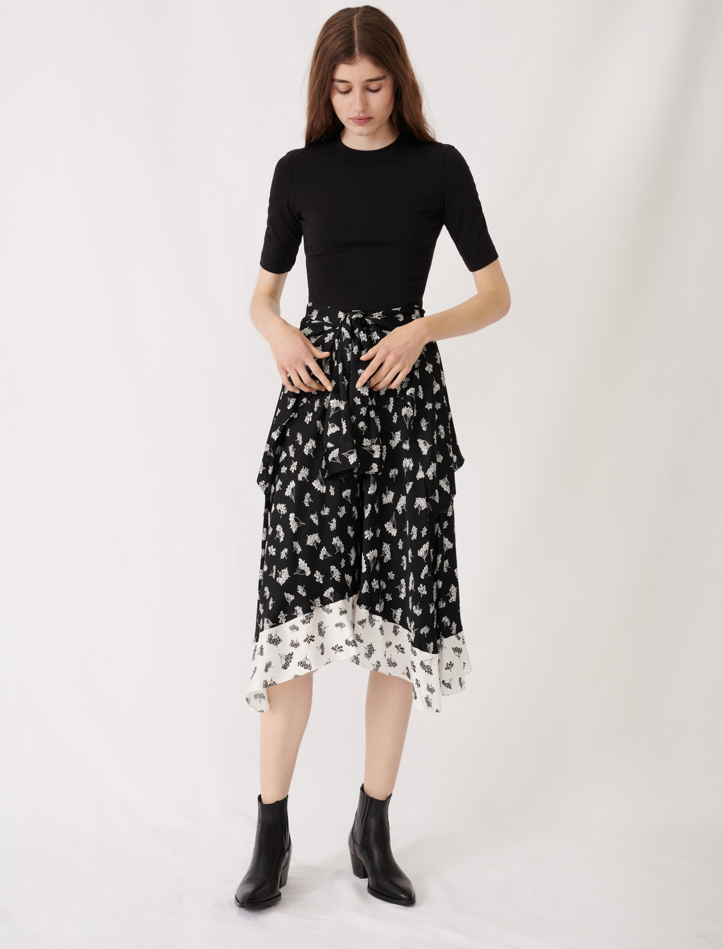 Print skirt midi dress - Black