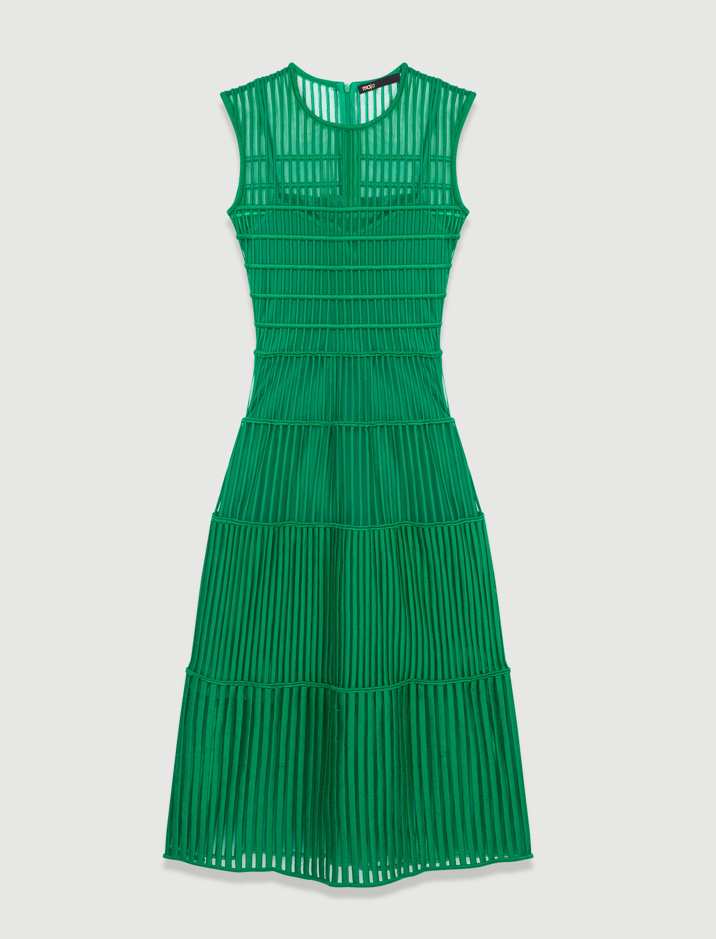 Long occasion green dress with fancy details - Green