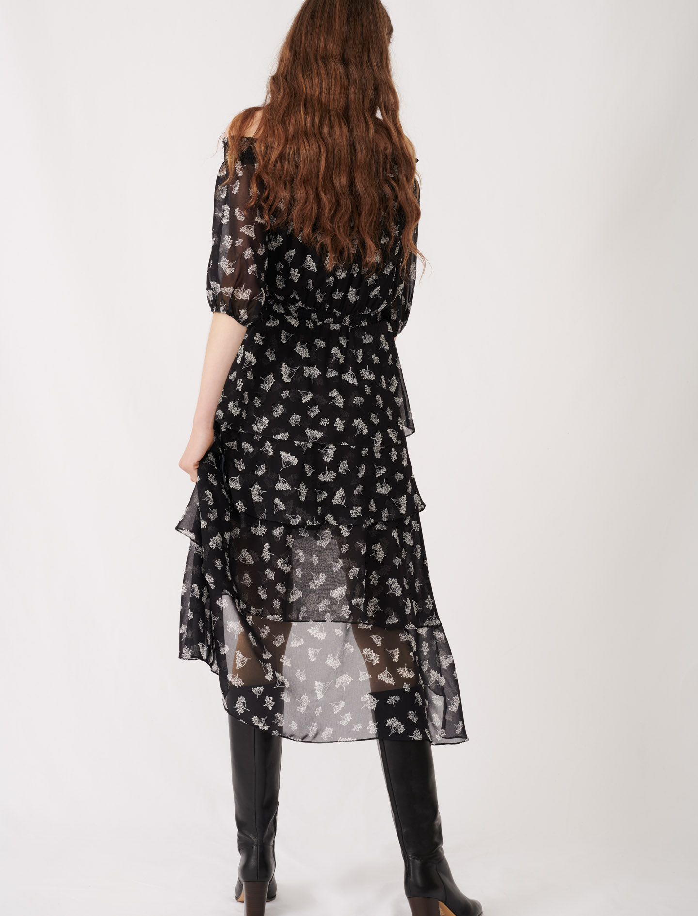 Asymmetric printed long dress - Black