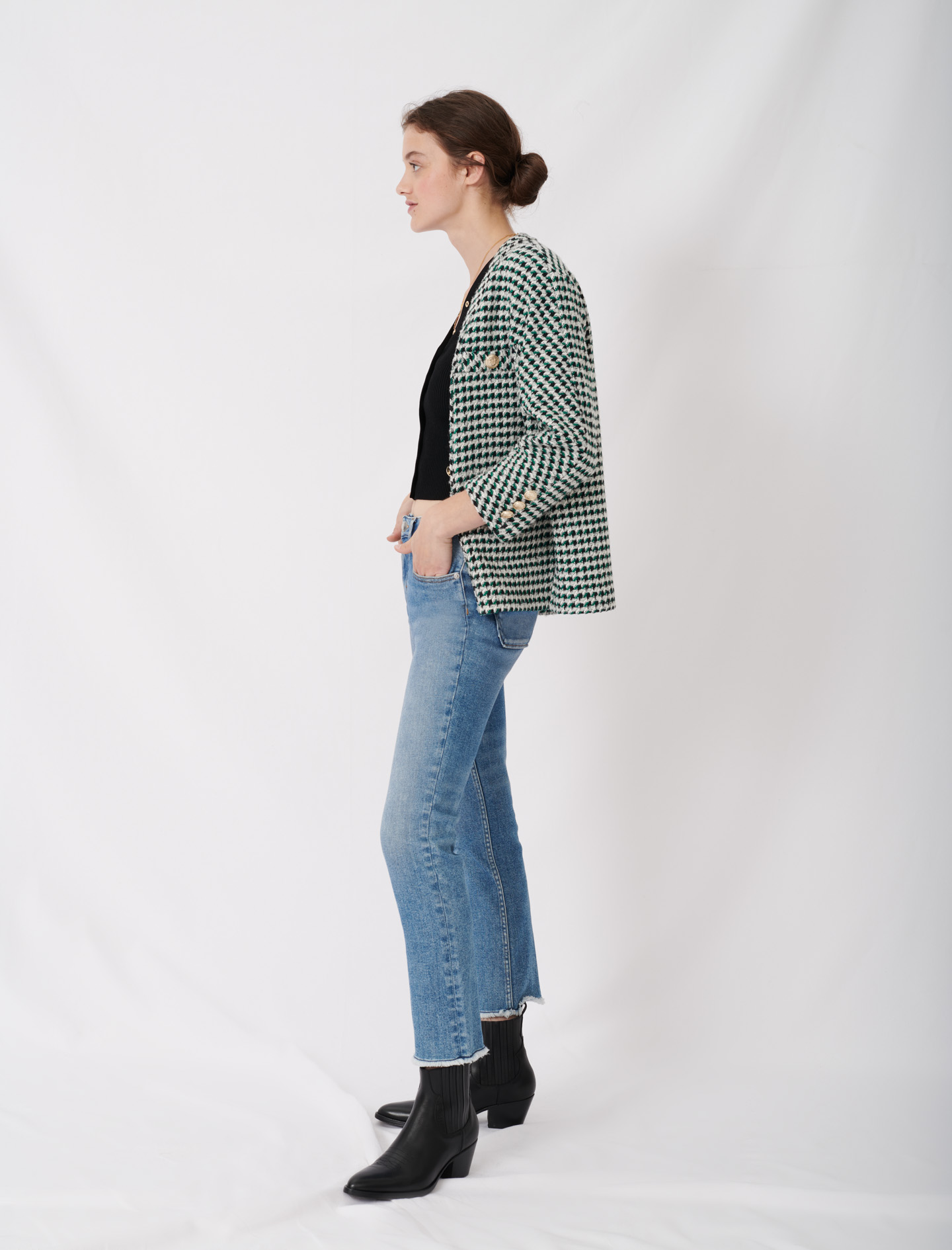 Green tweed-style jacket - Multiclr