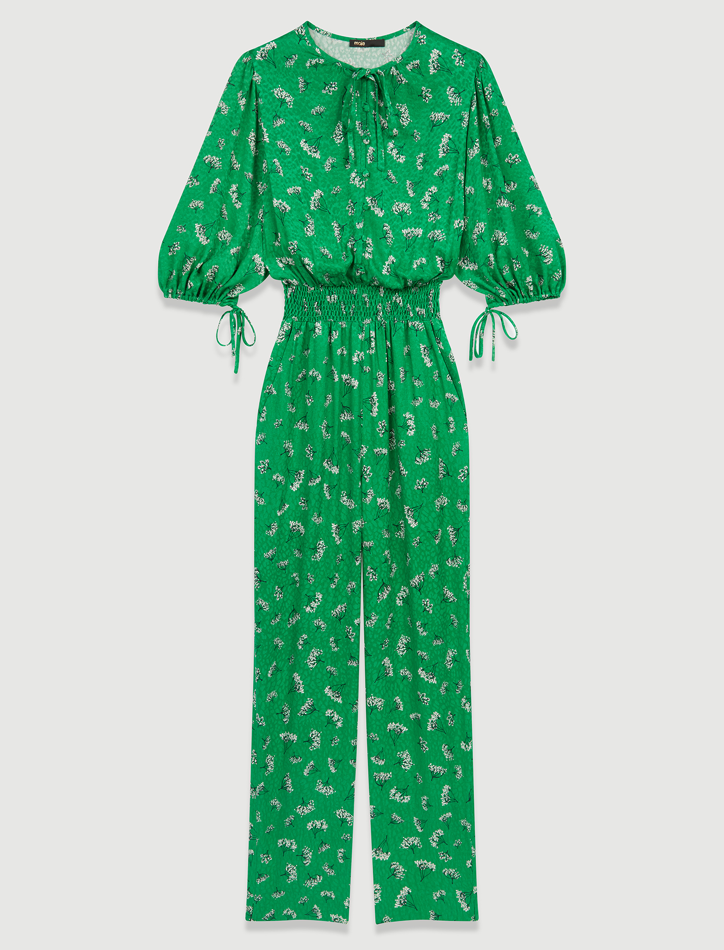 Green printed jumpsuit with fitted waist - Green