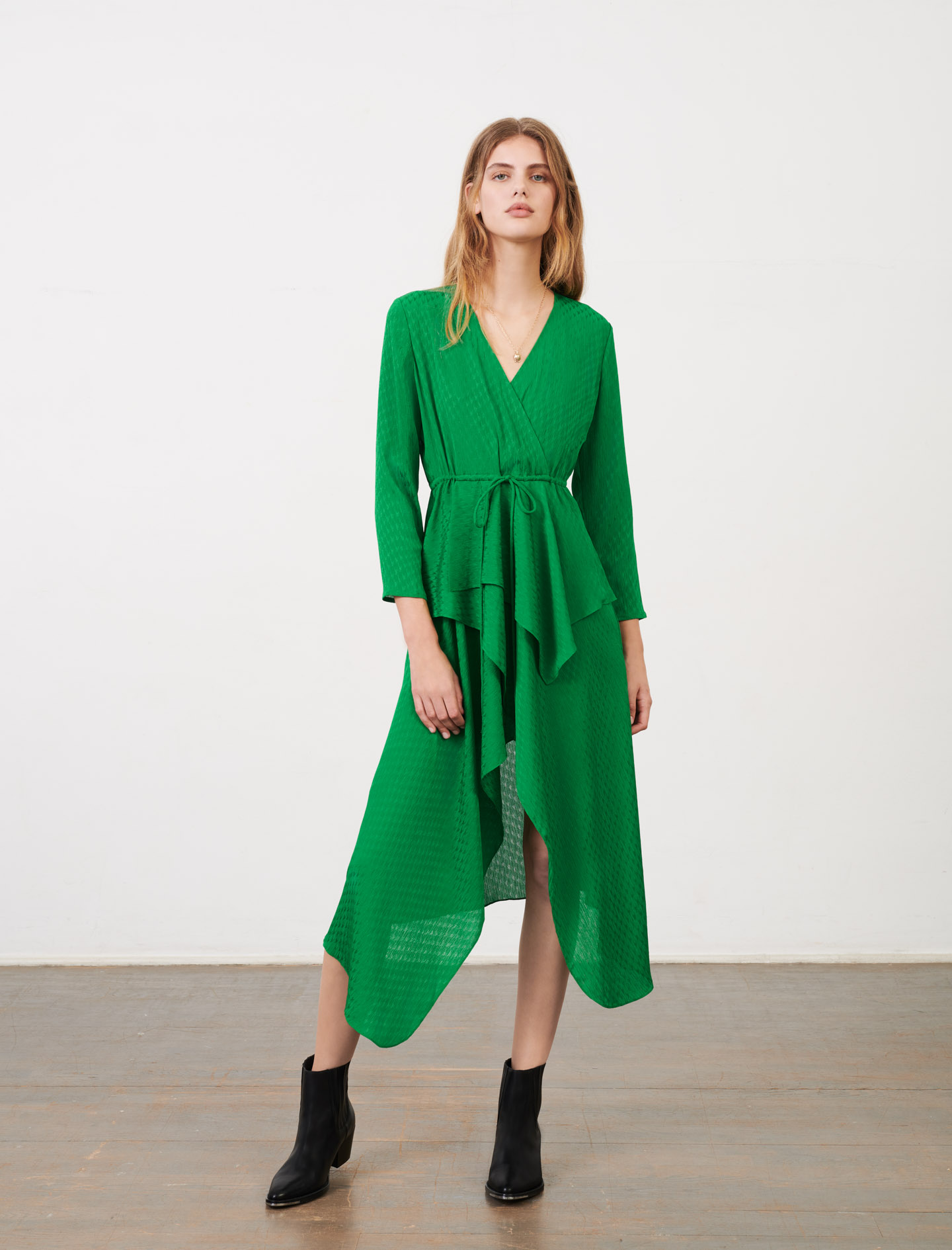 Maje Green Midi Dress Long Sleeves