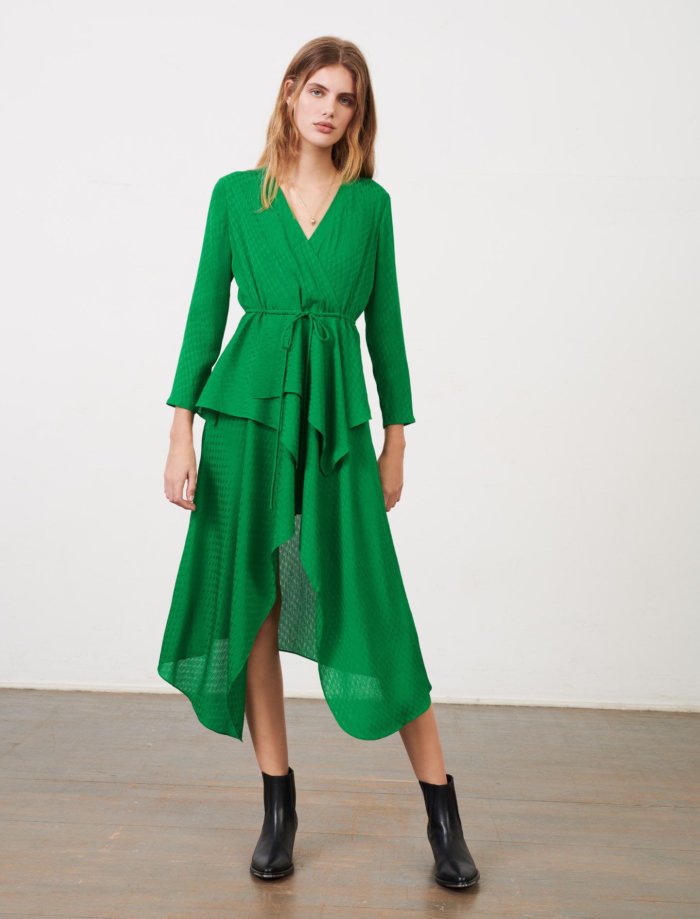 Green midi dress with asymmetrical skirt - Green