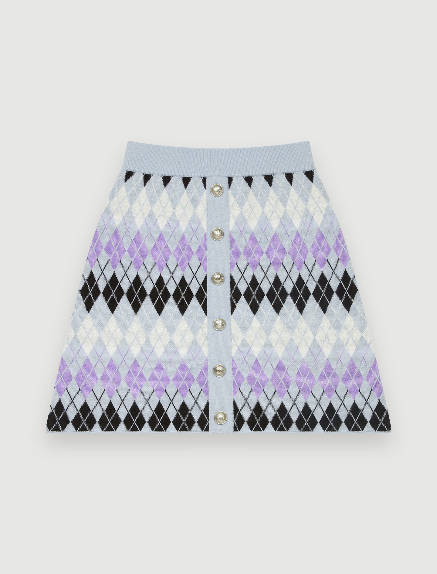 Argyle Jacquard Skirt - Purple