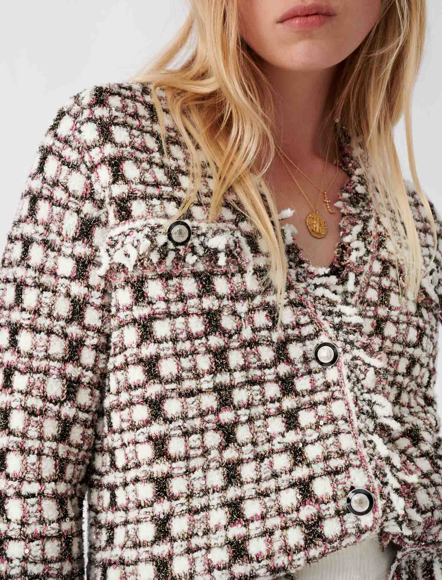 Lurex knit cardigan and fringes - Rose
