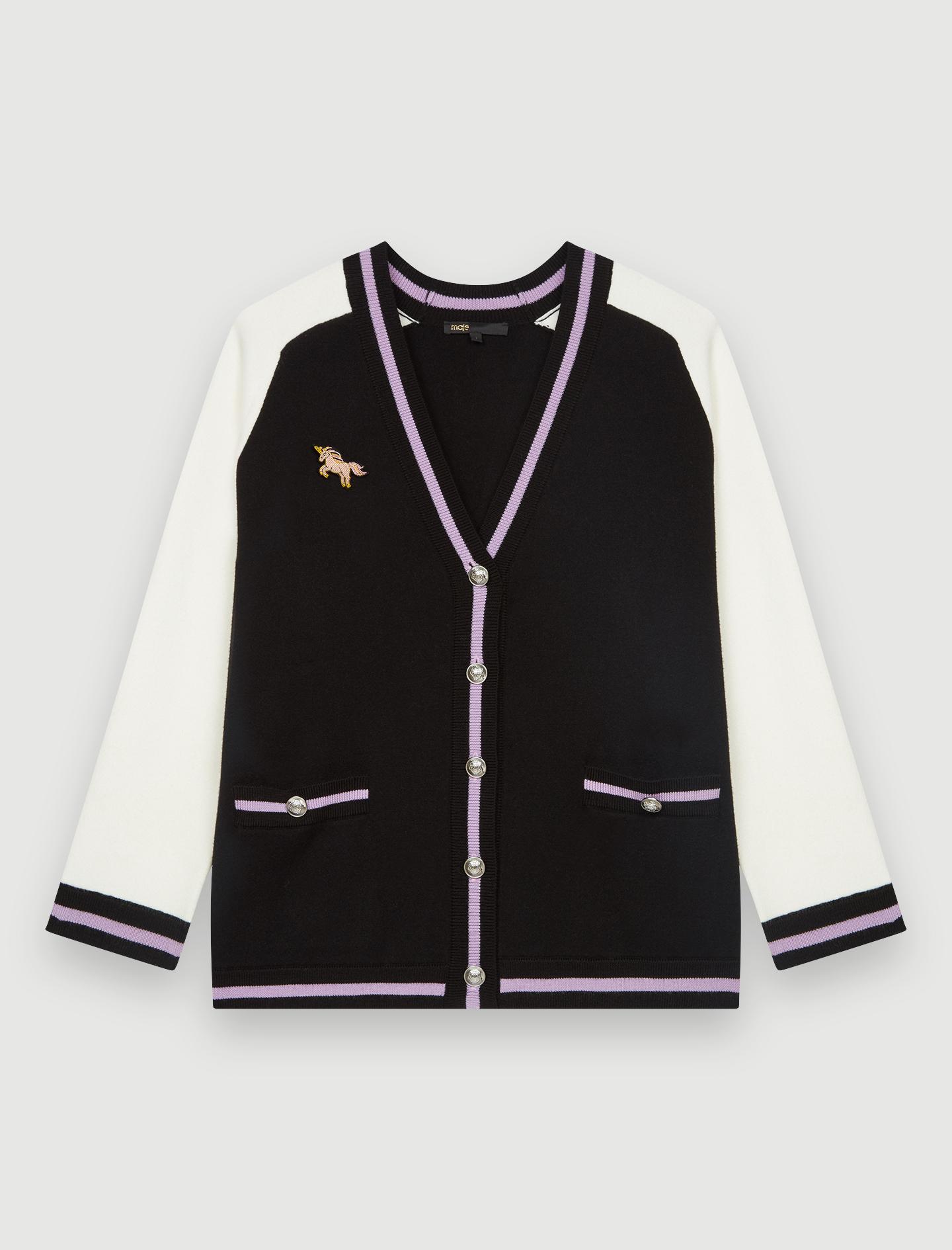 Bicolour college cardigan with patch - Multiclr