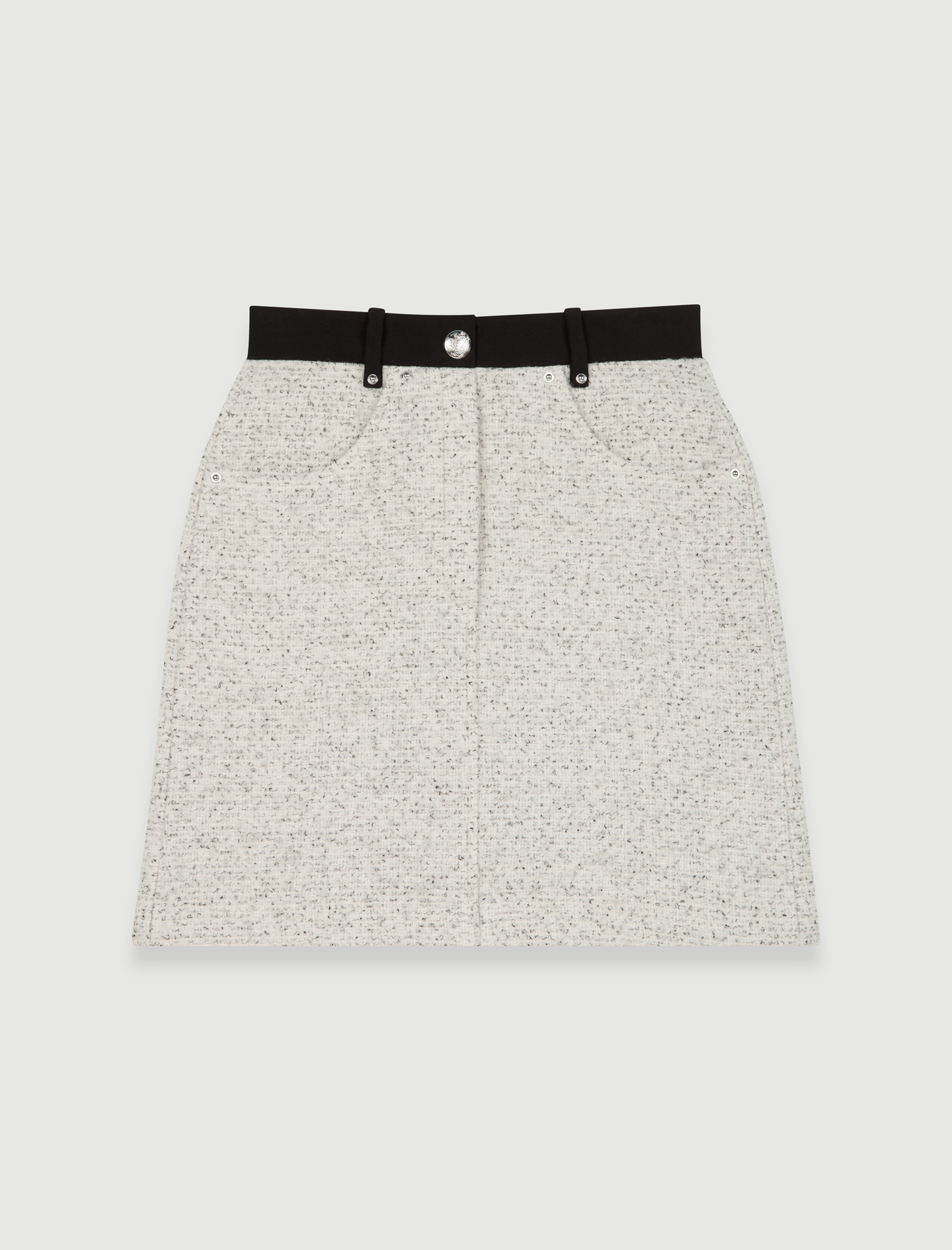 Straight cut tweed style skirt with contrast details - Multiclr
