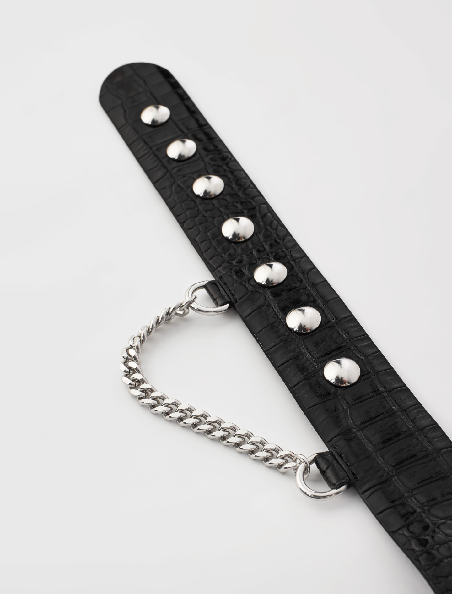 Snap button leather belt and chain Black