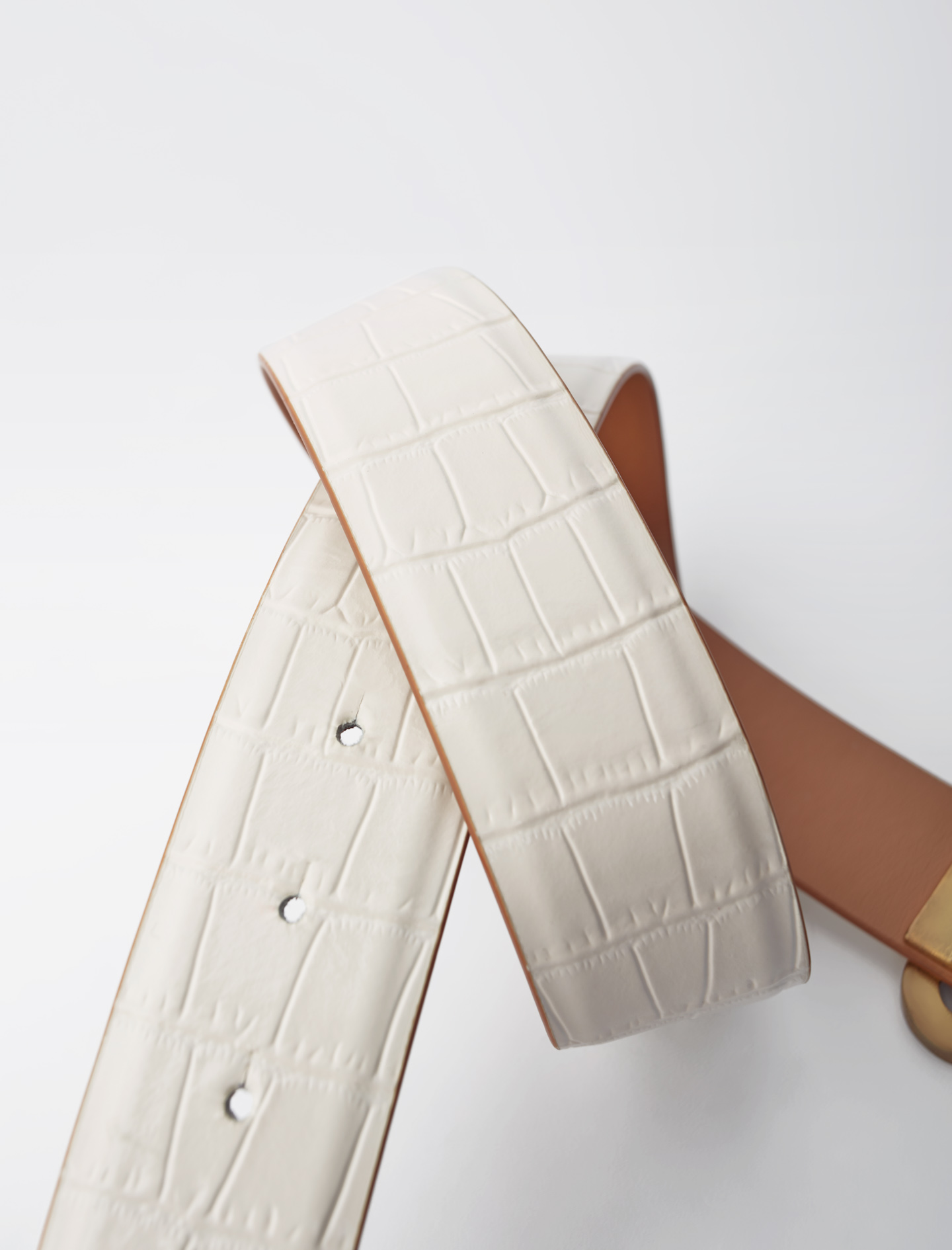 Maje Croc-effect leather double M belt