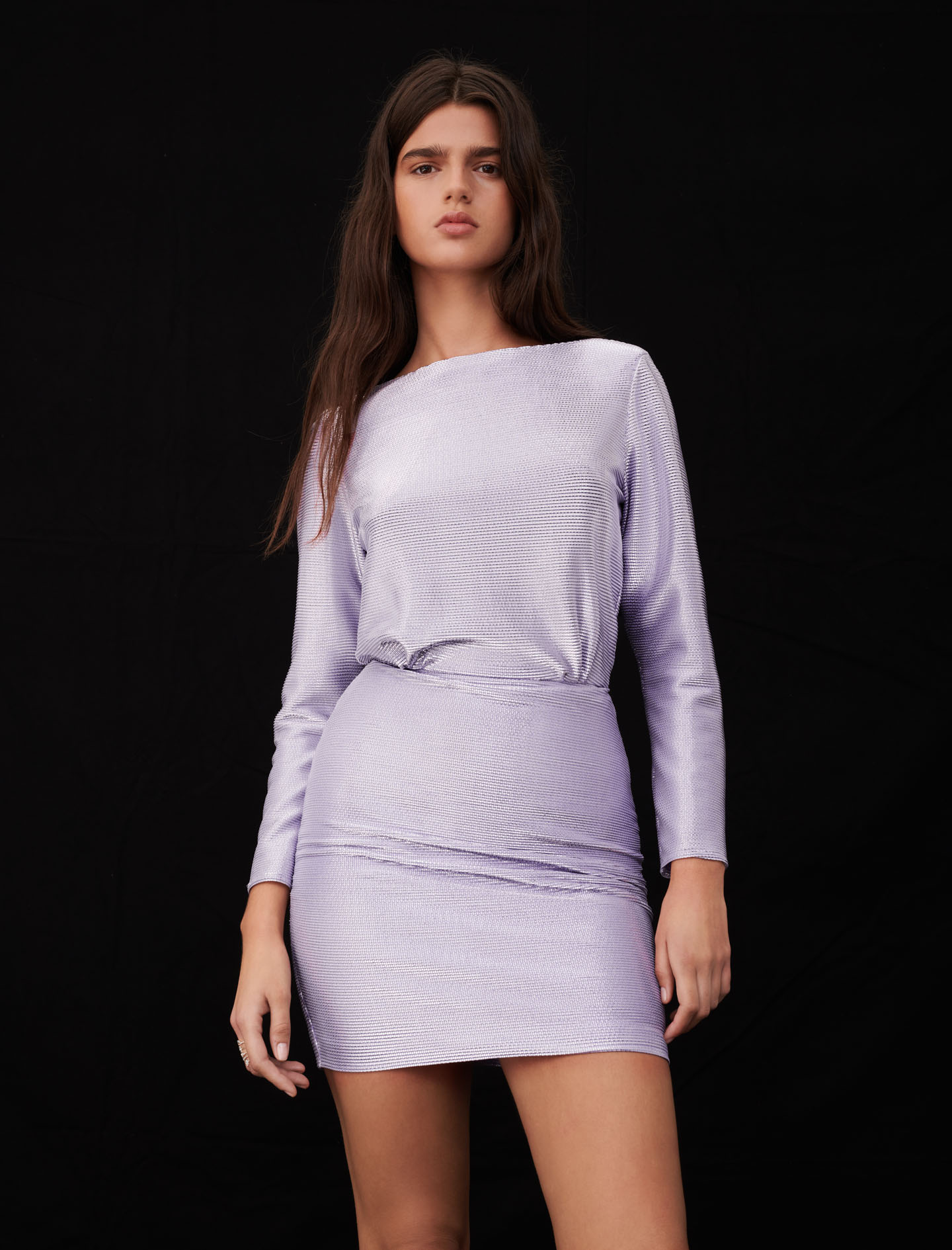 Purple dress with long sleeves and low back by maje paris