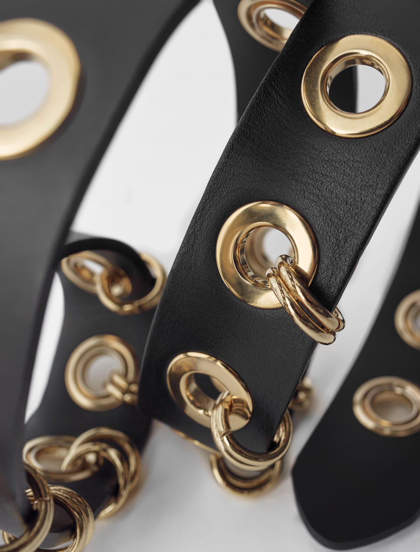 Maje Leather belt with eyelets and rings