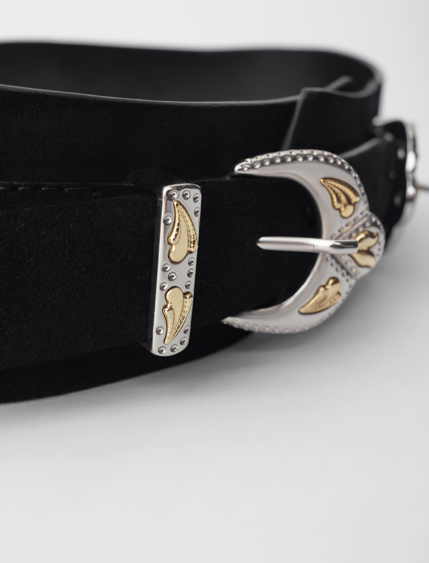 Western suede belt with double buckle - Black