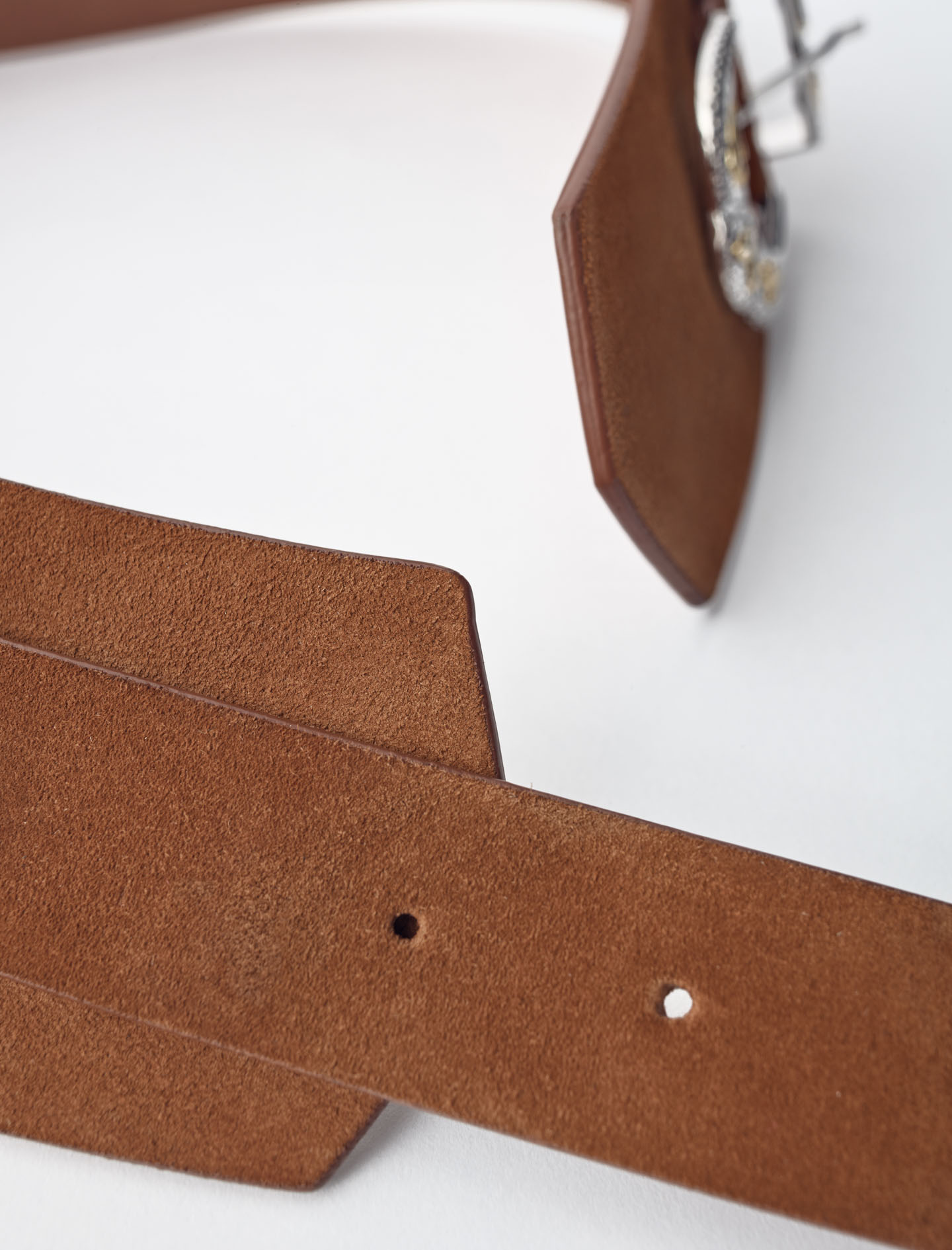 Western suede belt with double buckle - Camel