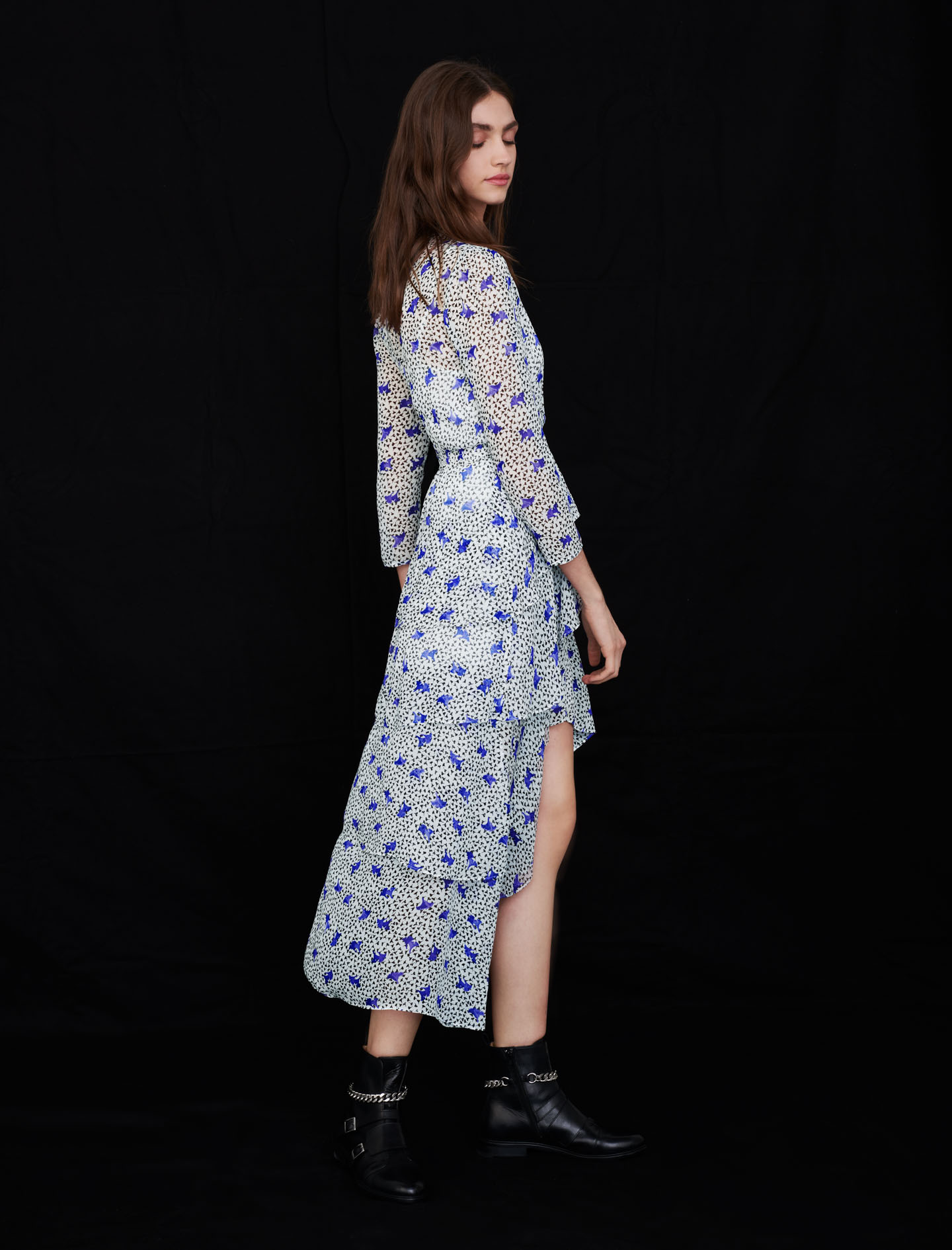Maje Asymmetric dress in printed muslin