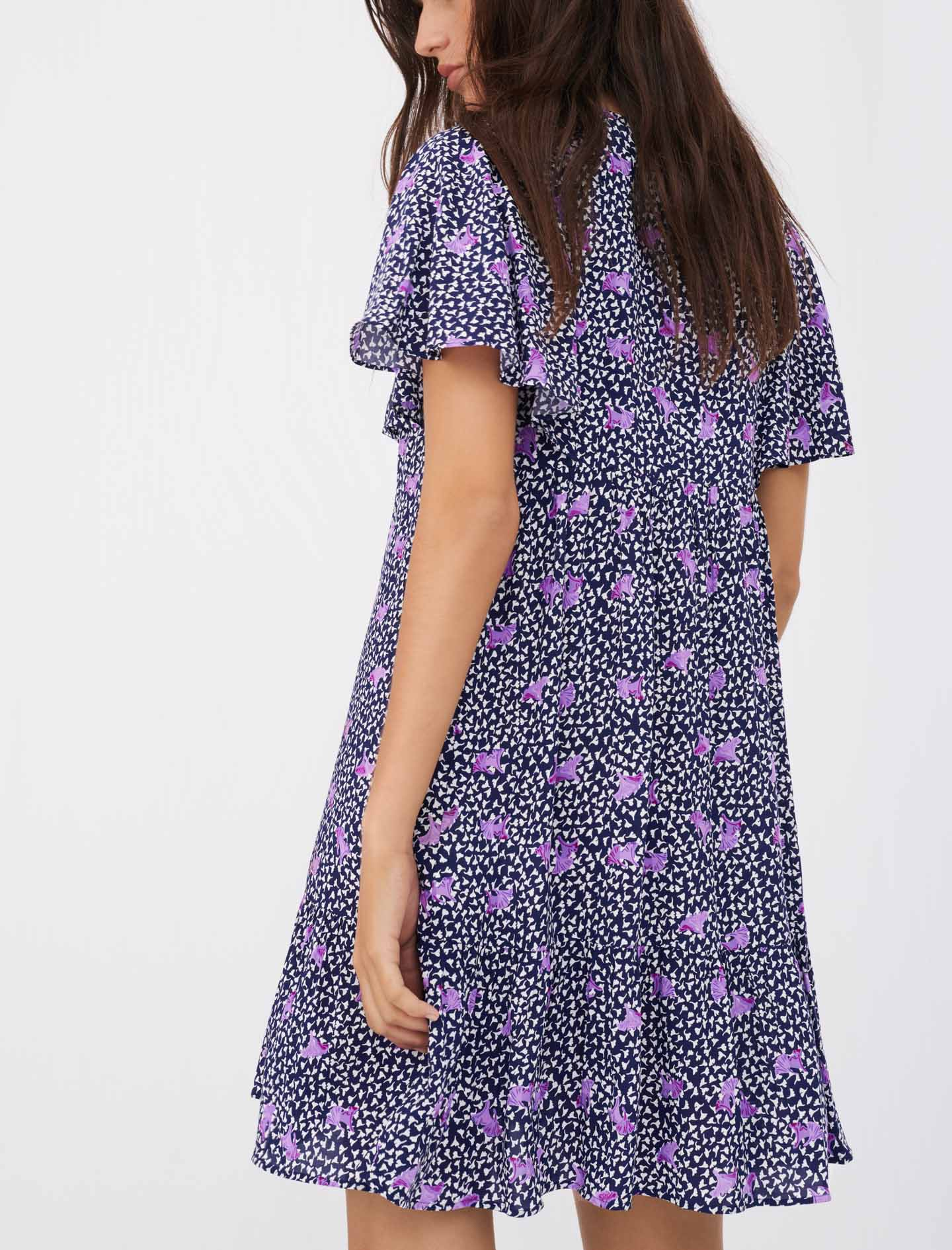 Maje Baby doll dress in printed crêpe