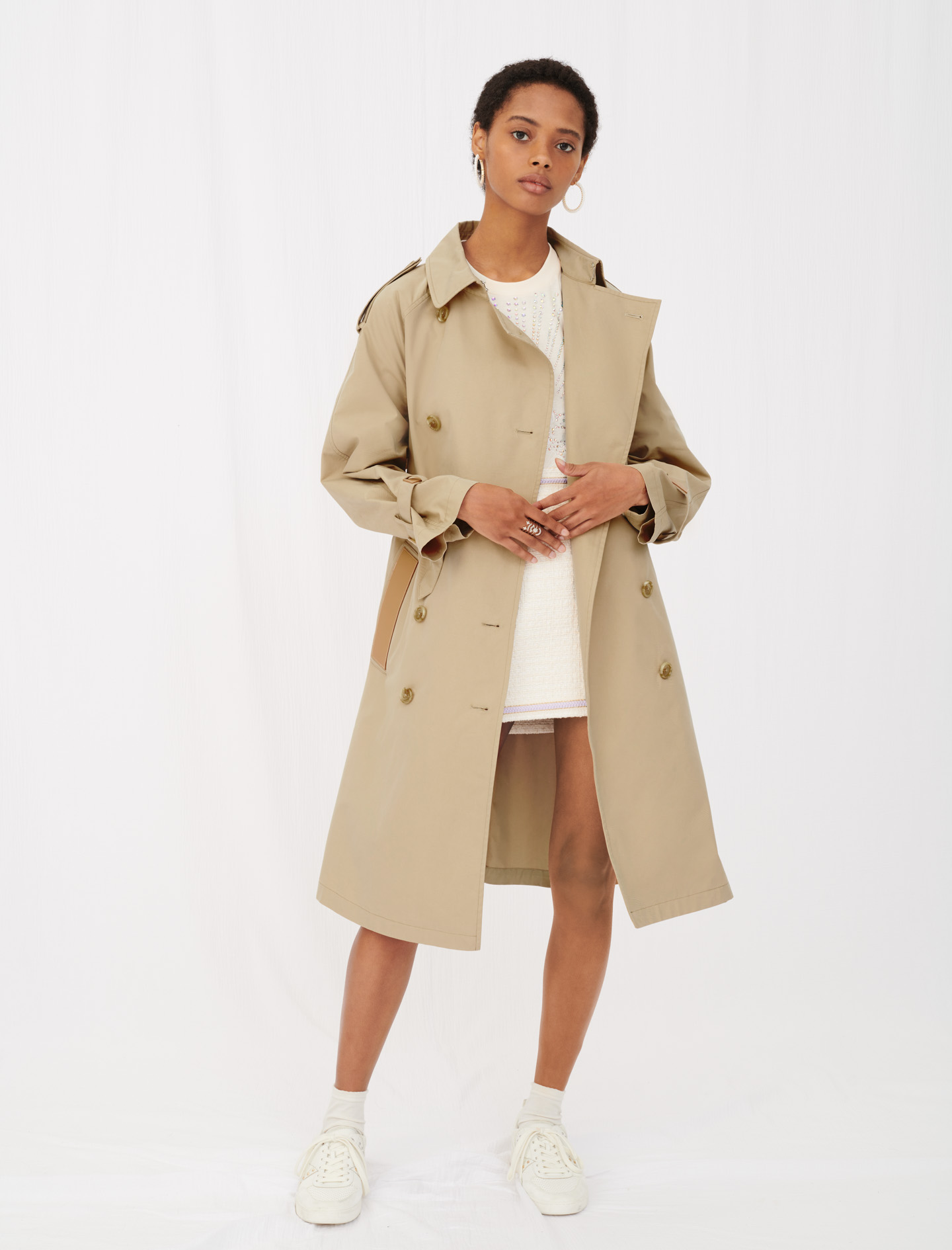 Maje Grench Belted trench coat with leather patches Camel