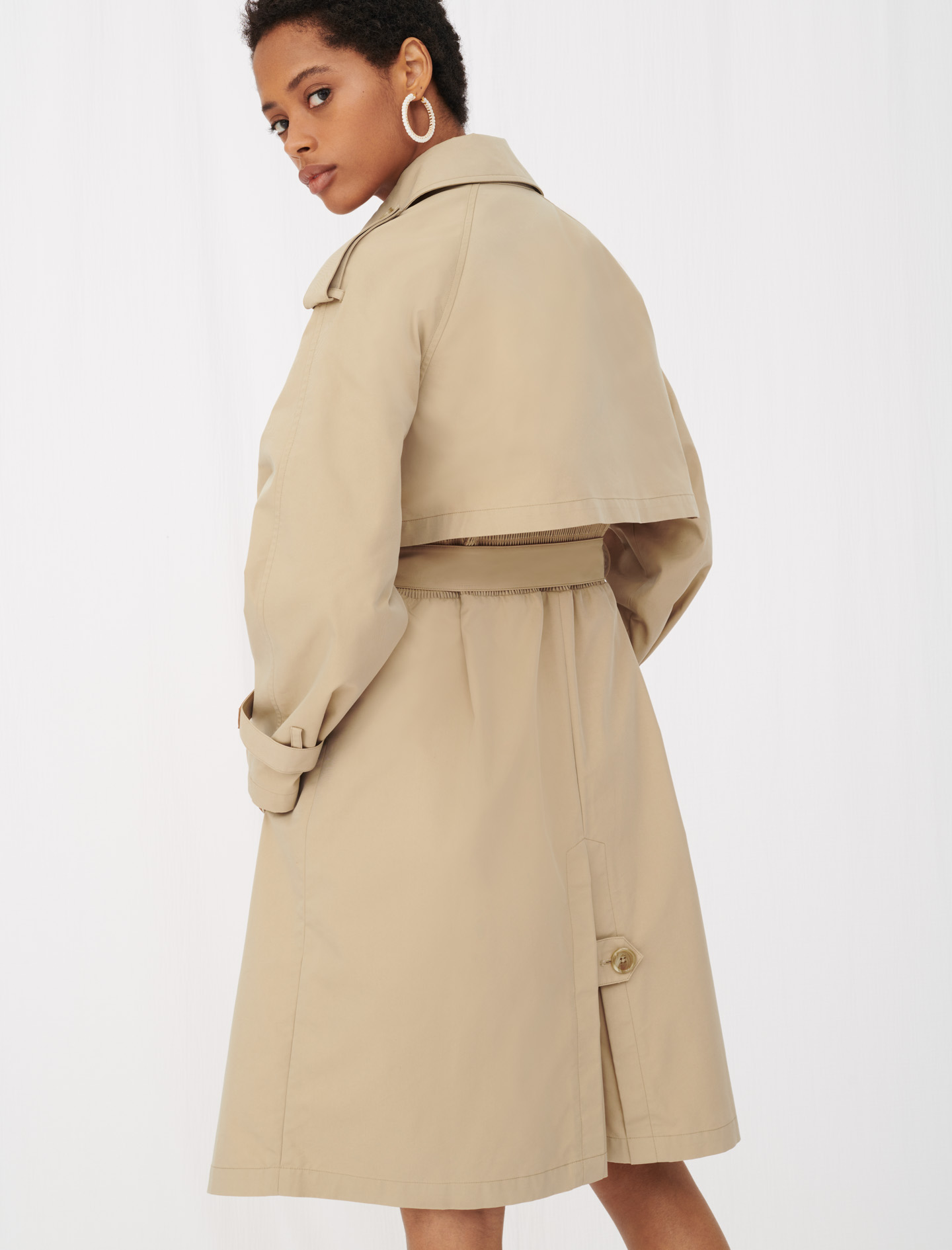 Belted trench coat with leather patches - Camel