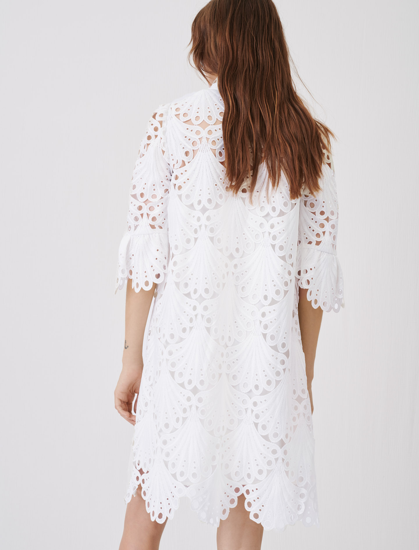Straight cut guipure lace dress - White