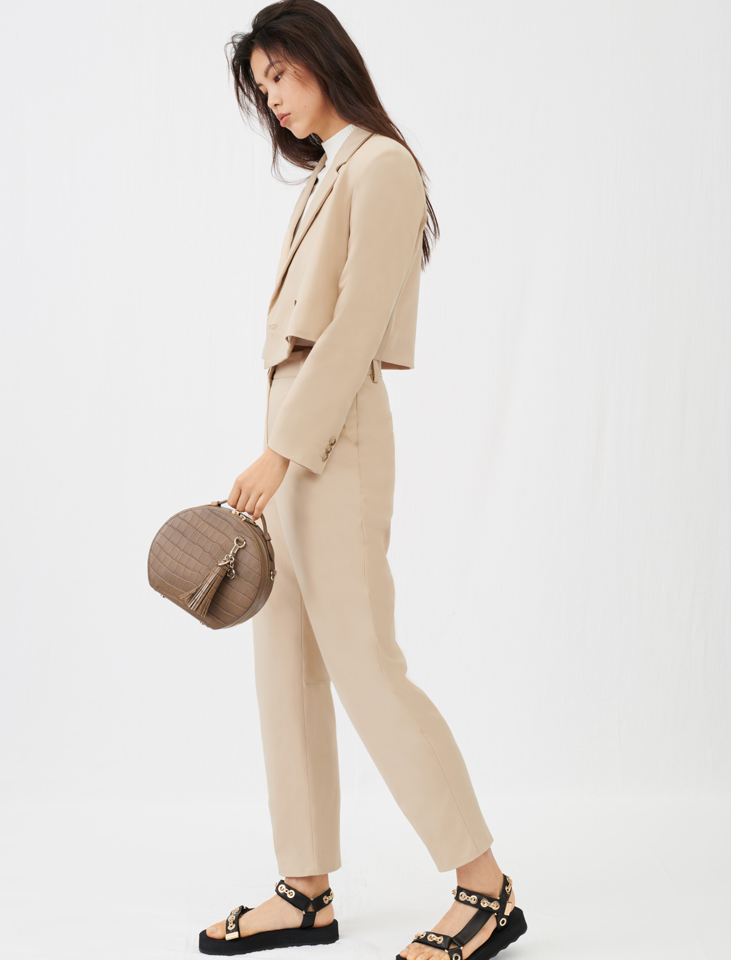 Short double-breasted suit jacket - Beige
