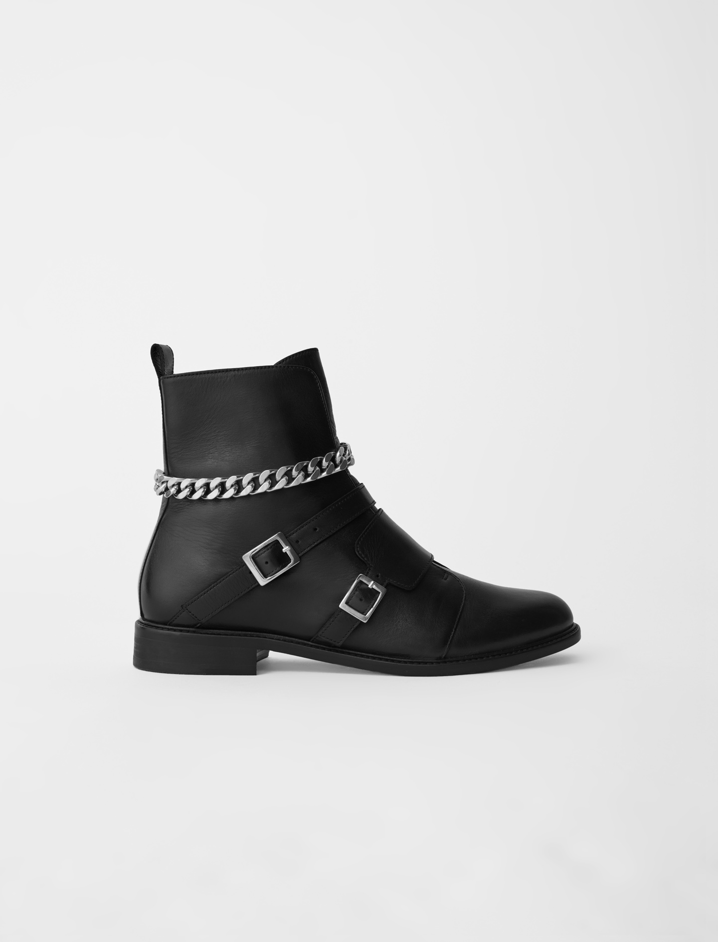Flat black boots with buckles Maje Forchains Boots