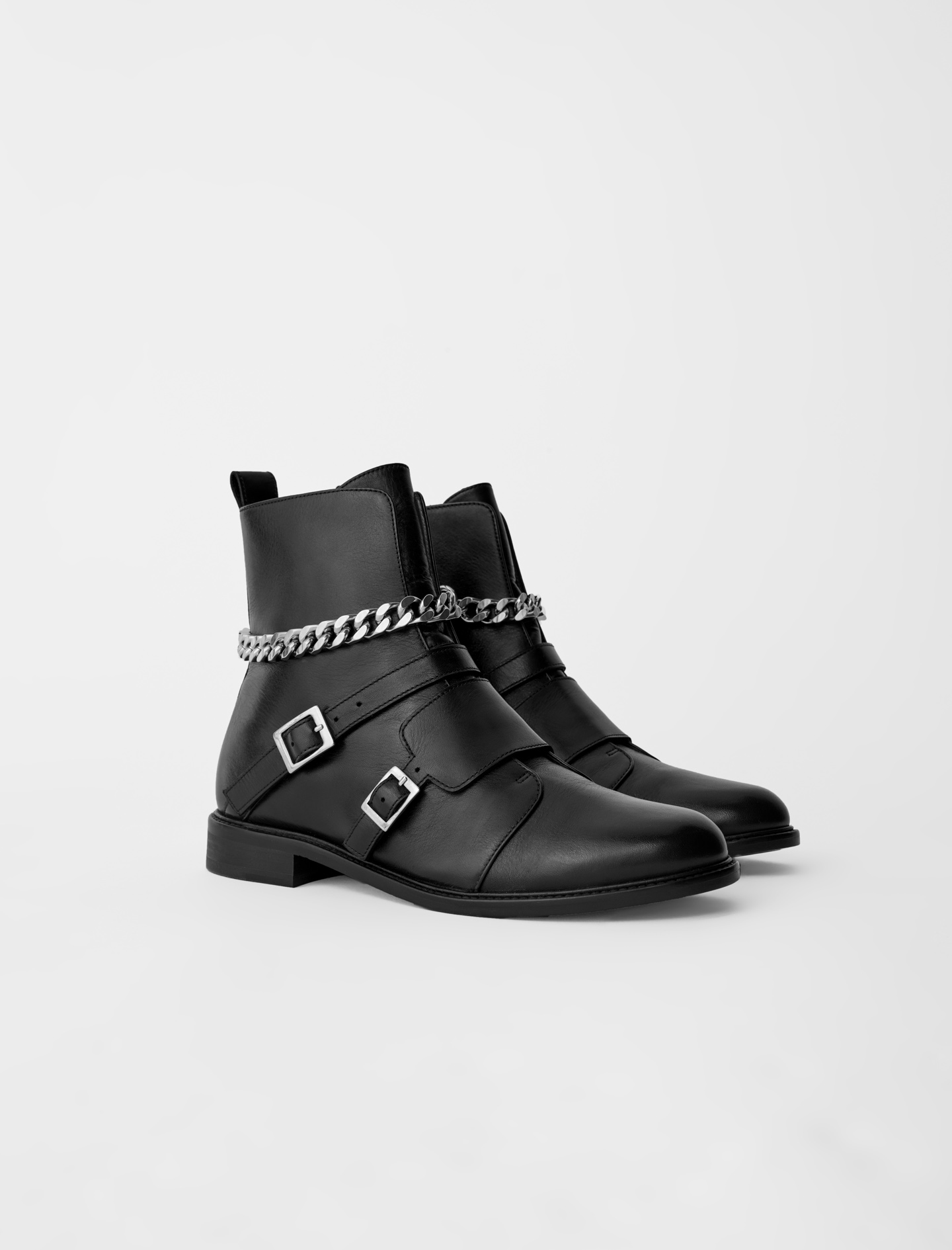 Flat black boots with chains Maje Forchains Boots
