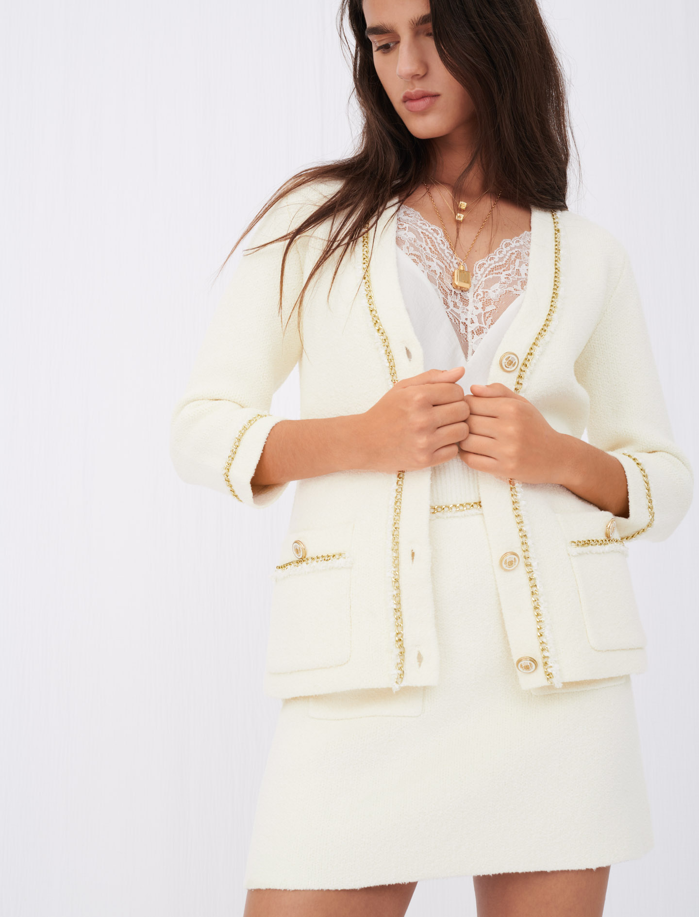 Maje Tweed-effect cardigan with chains