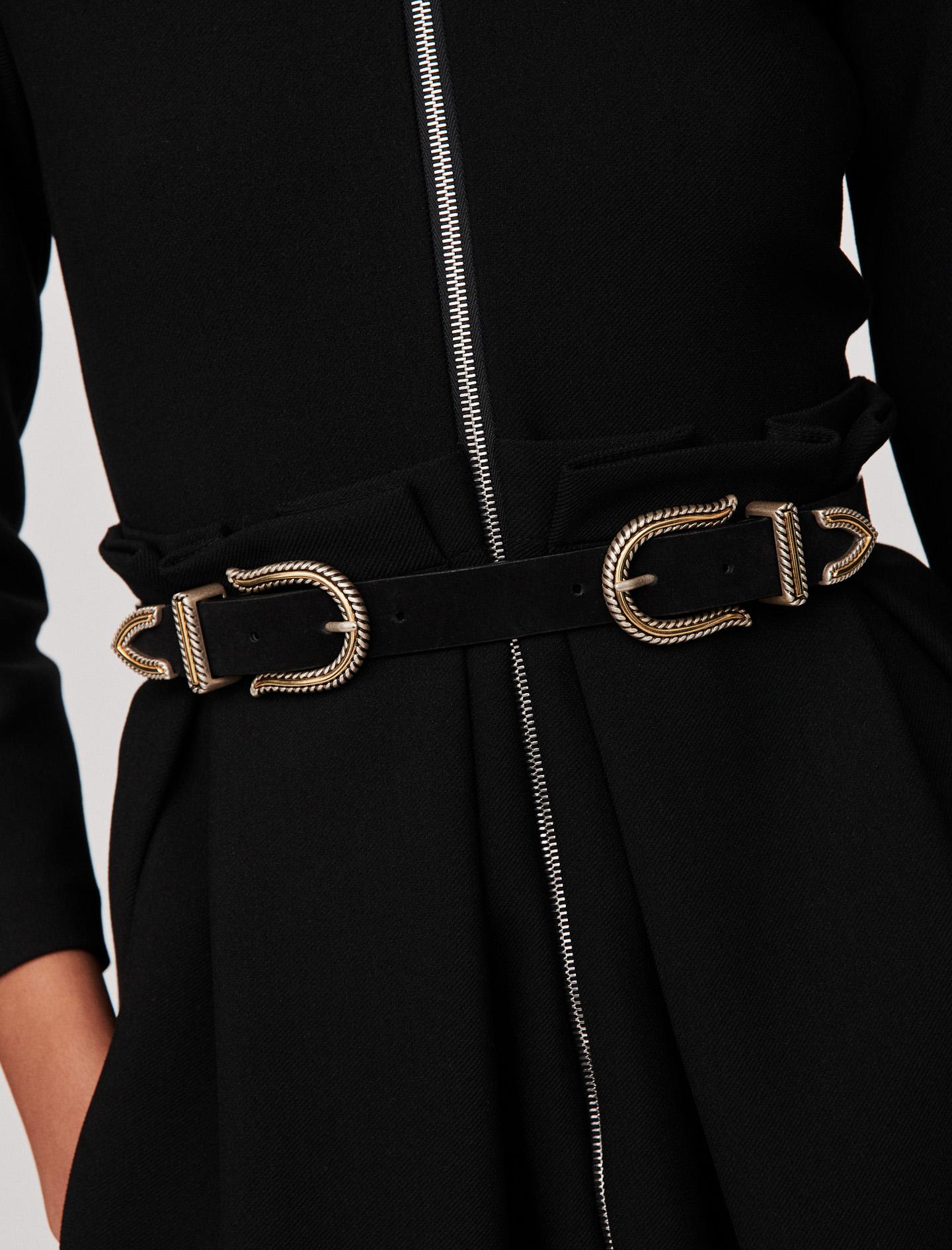 Western double buckle belt  - Black