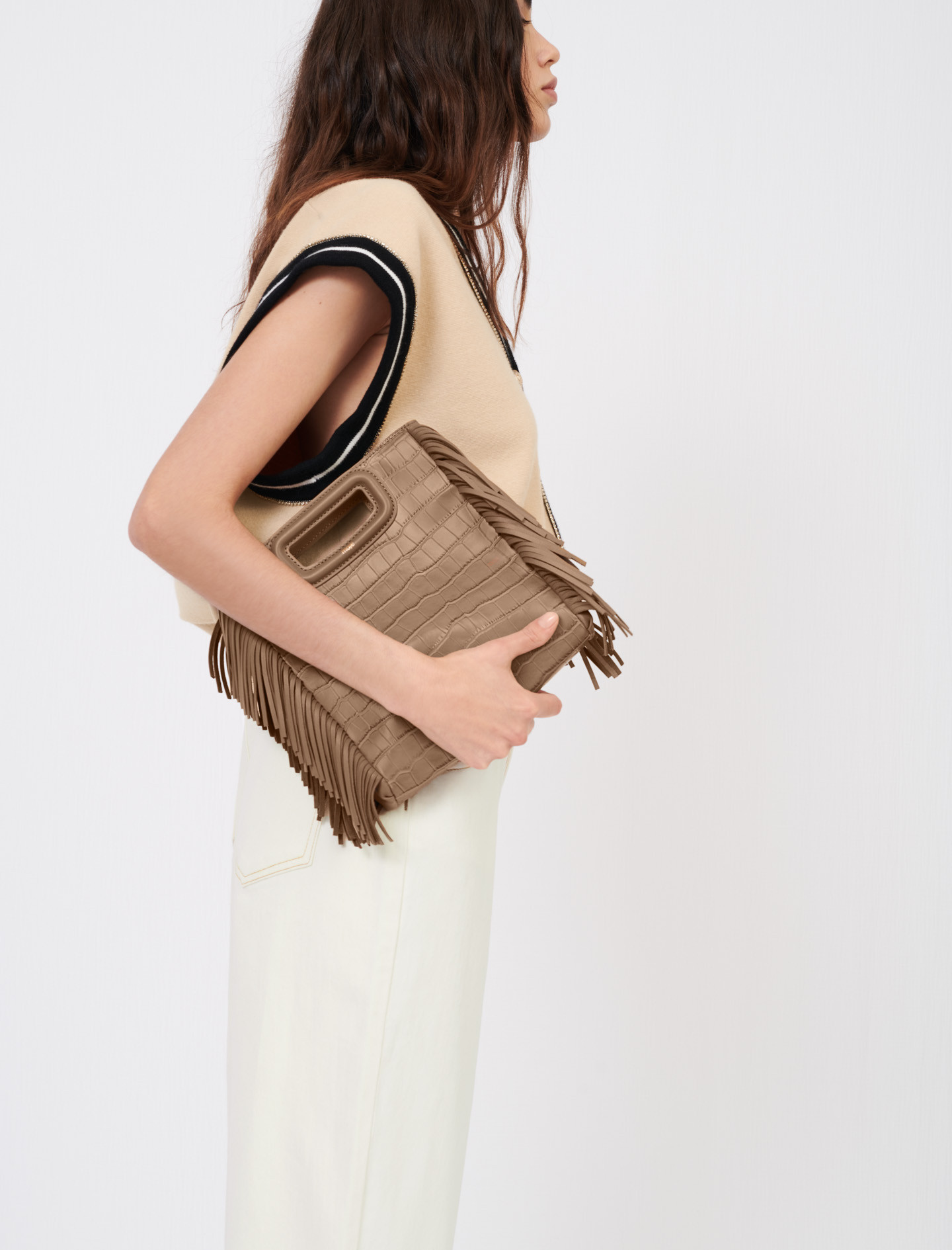 Maje M bag in taupe with fringe