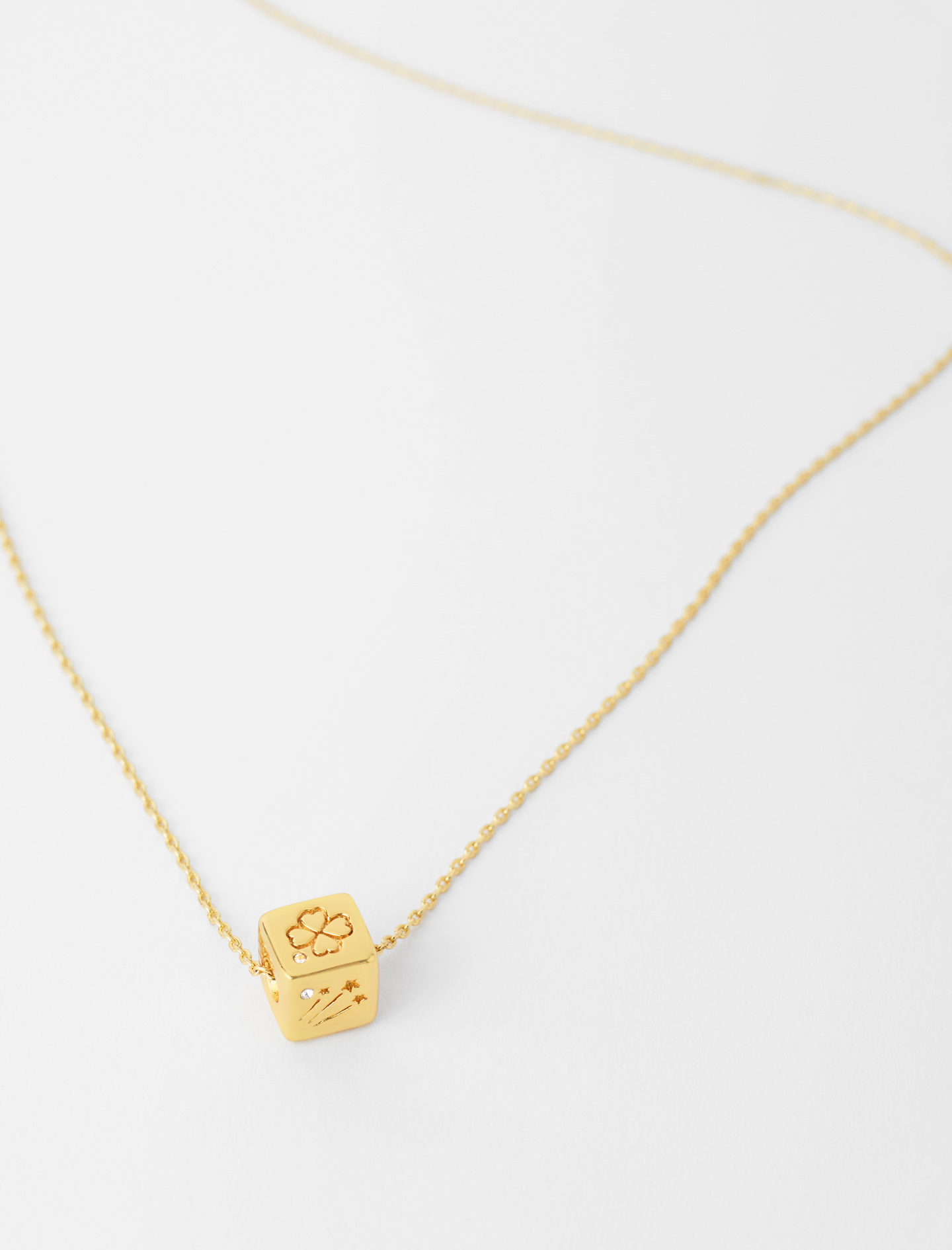 Number 5 dice necklace - Gold