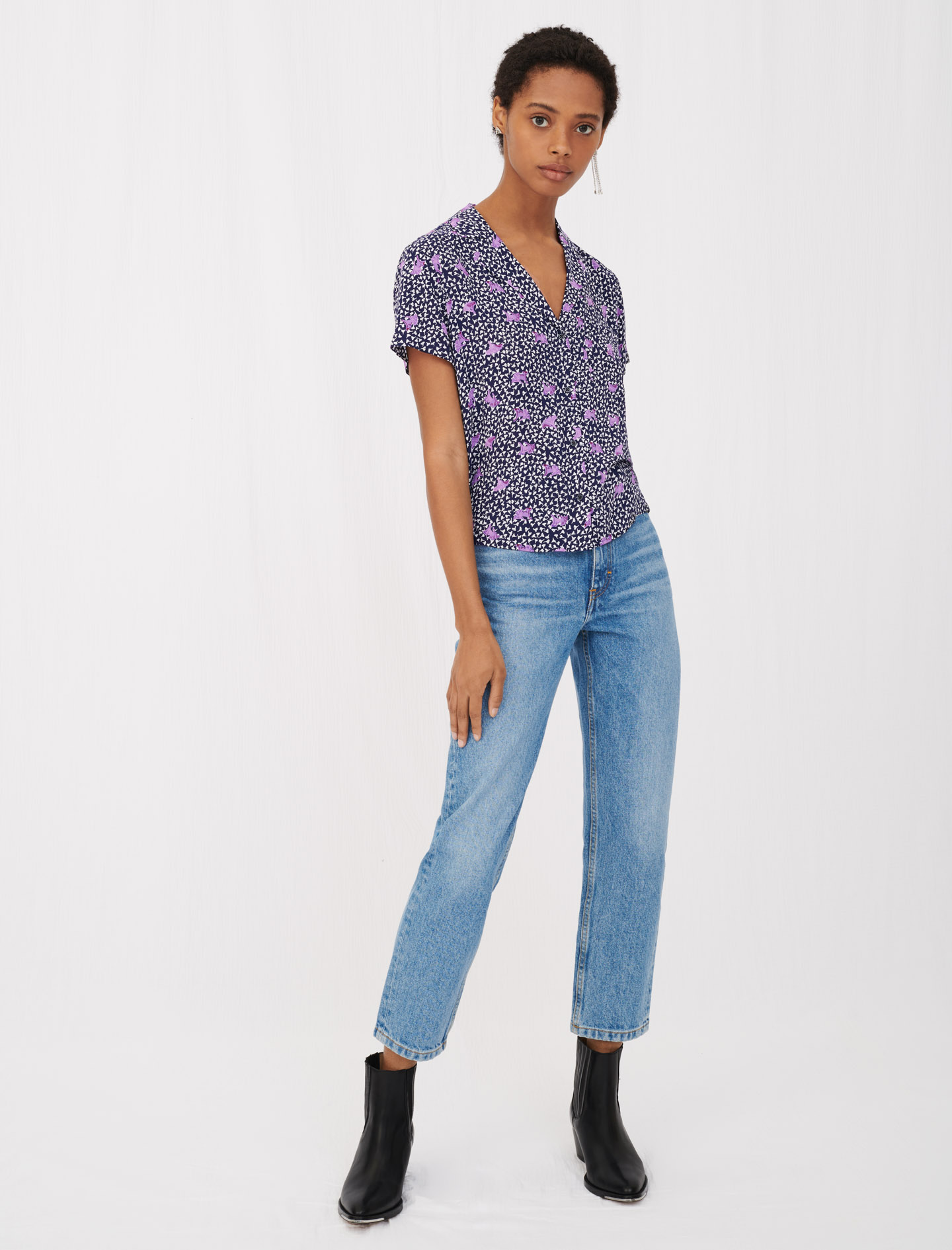 Short sleeve top with blue floral print by maje paris