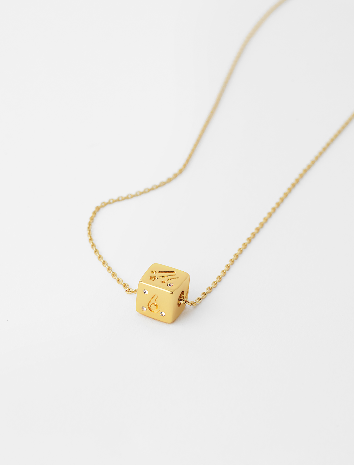 Number 6 or 9 dice necklace gold by maje paris