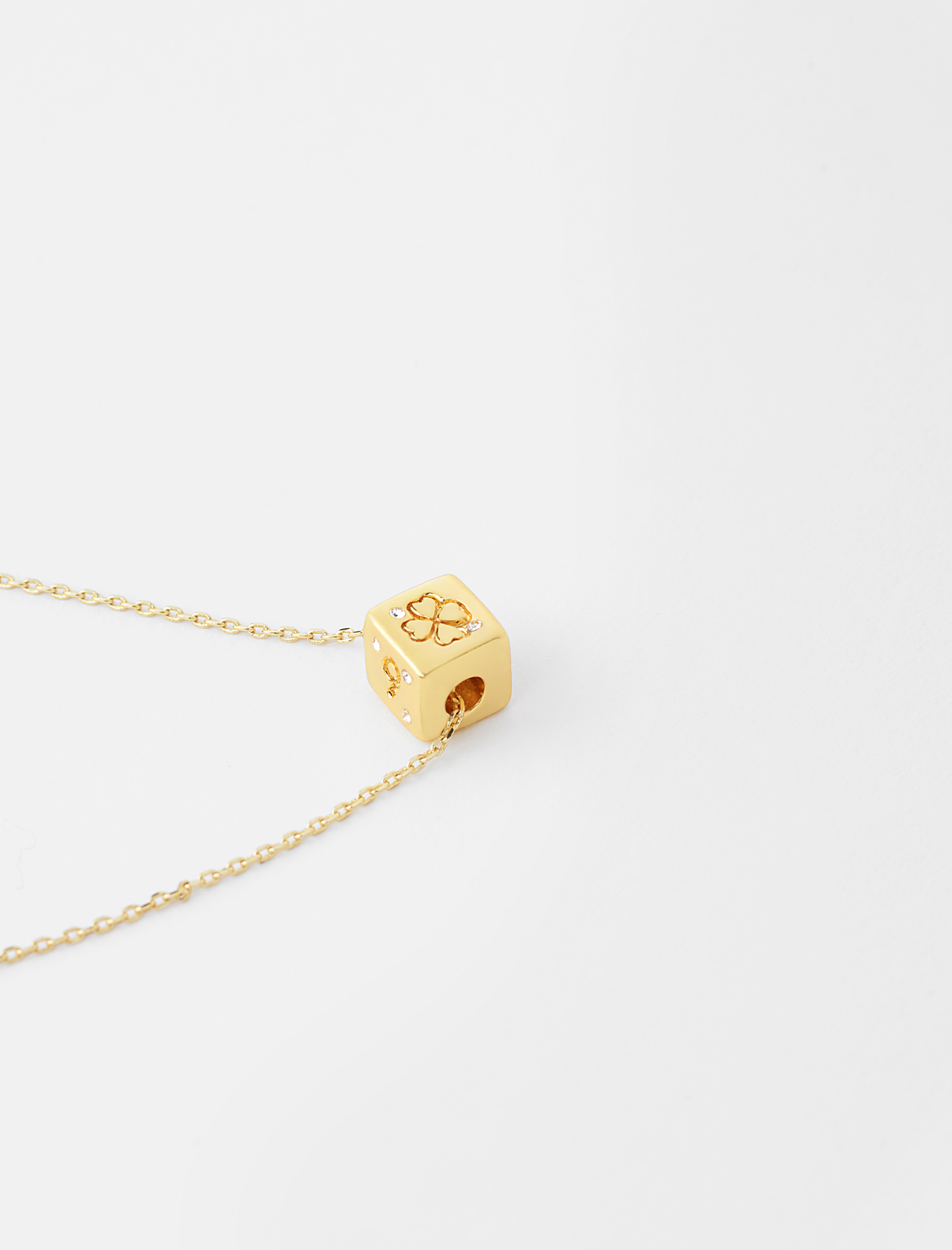 Number 6 or 9 dice necklace - Gold
