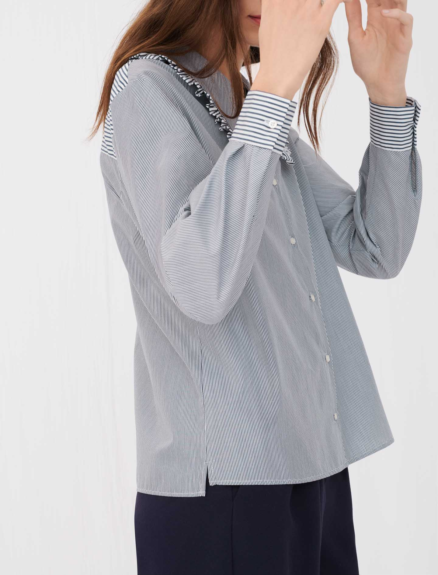 Grey long sleeve shirt with stripes and ruffle collar